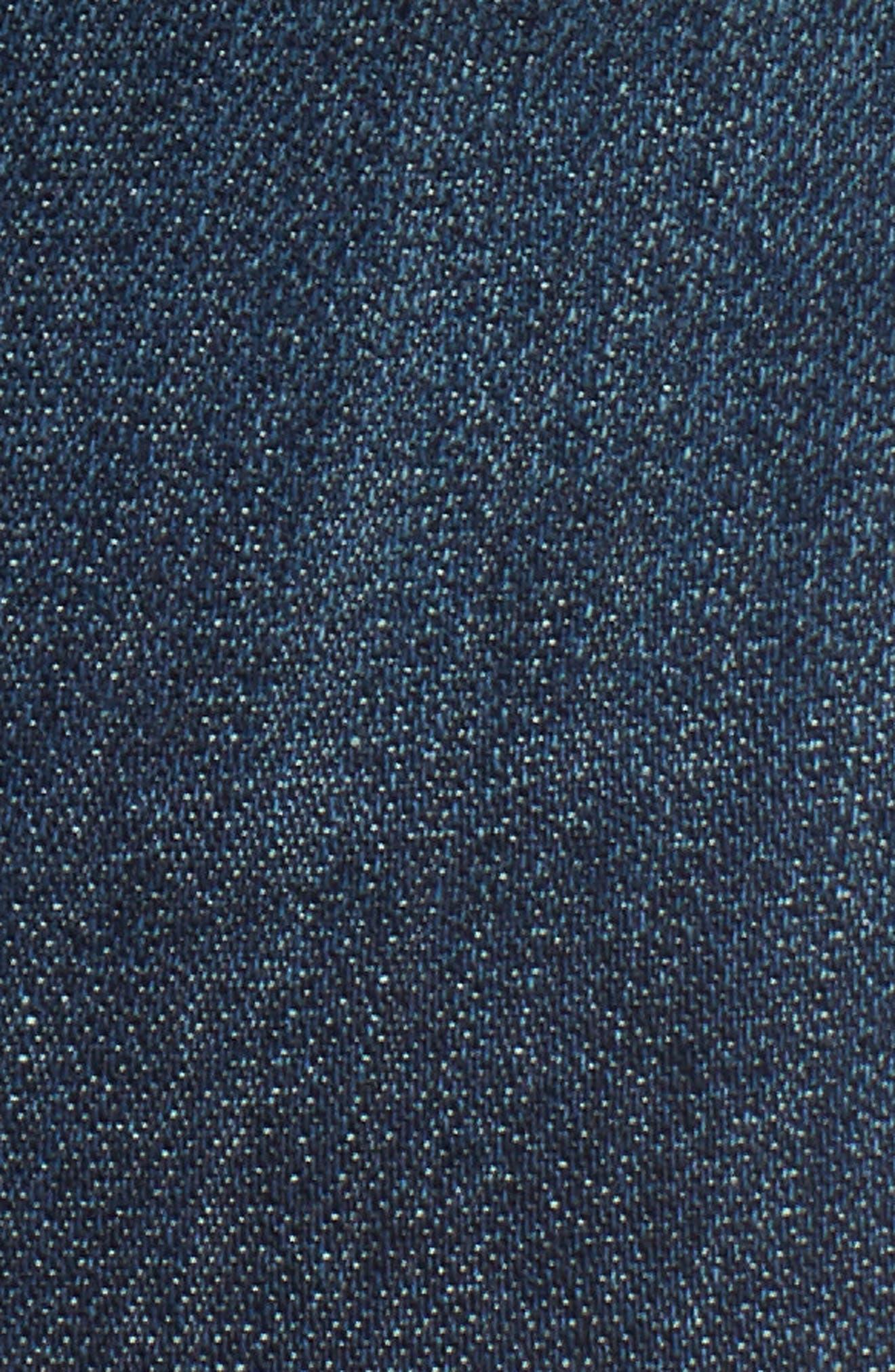 Asymmetrical Fray Hem Skinny Jeans,                             Alternate thumbnail 6, color,                             Dark Wash
