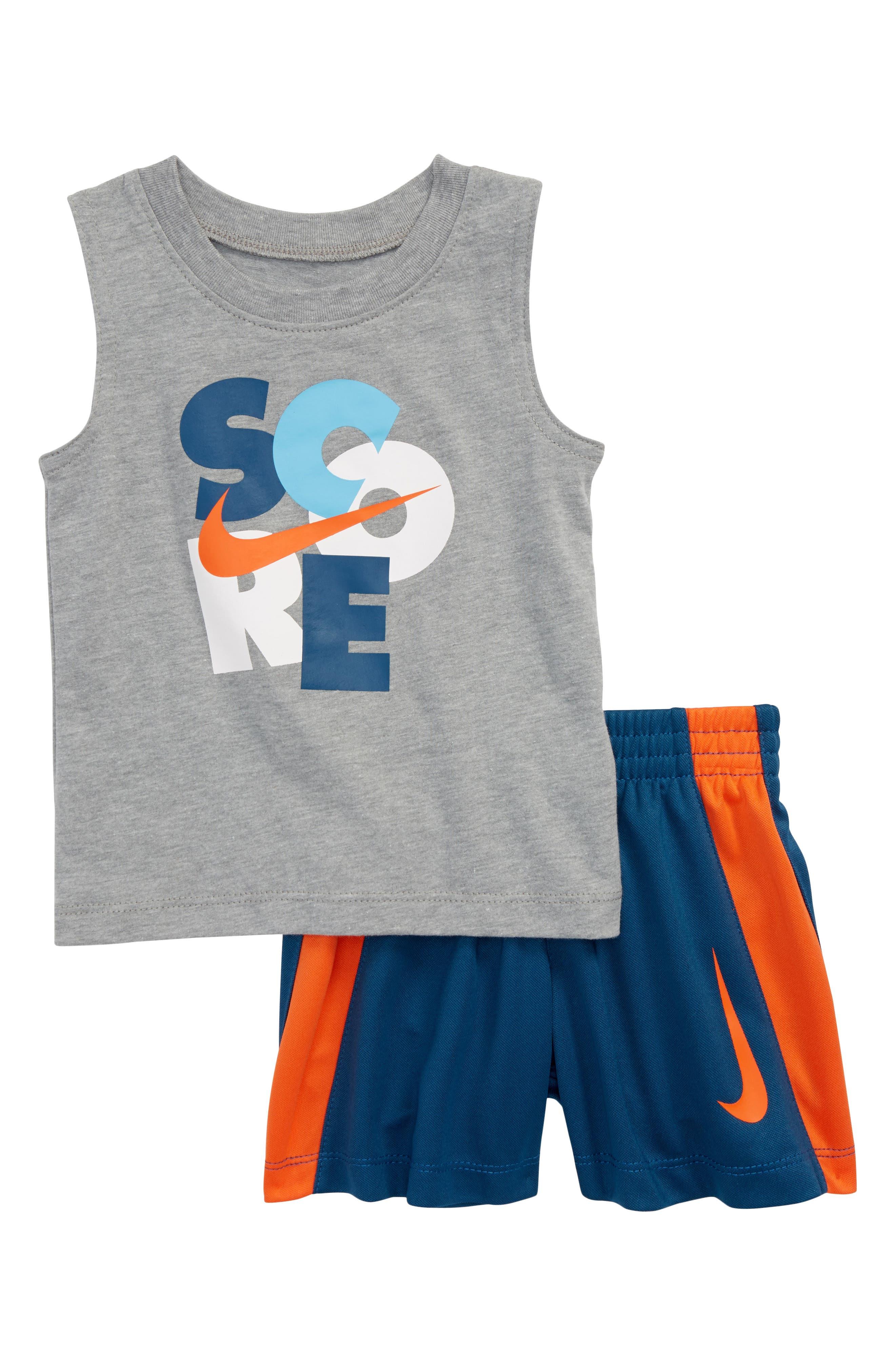 Score Muscle Tank & Shorts Set,                         Main,                         color, Dk Grey Heather