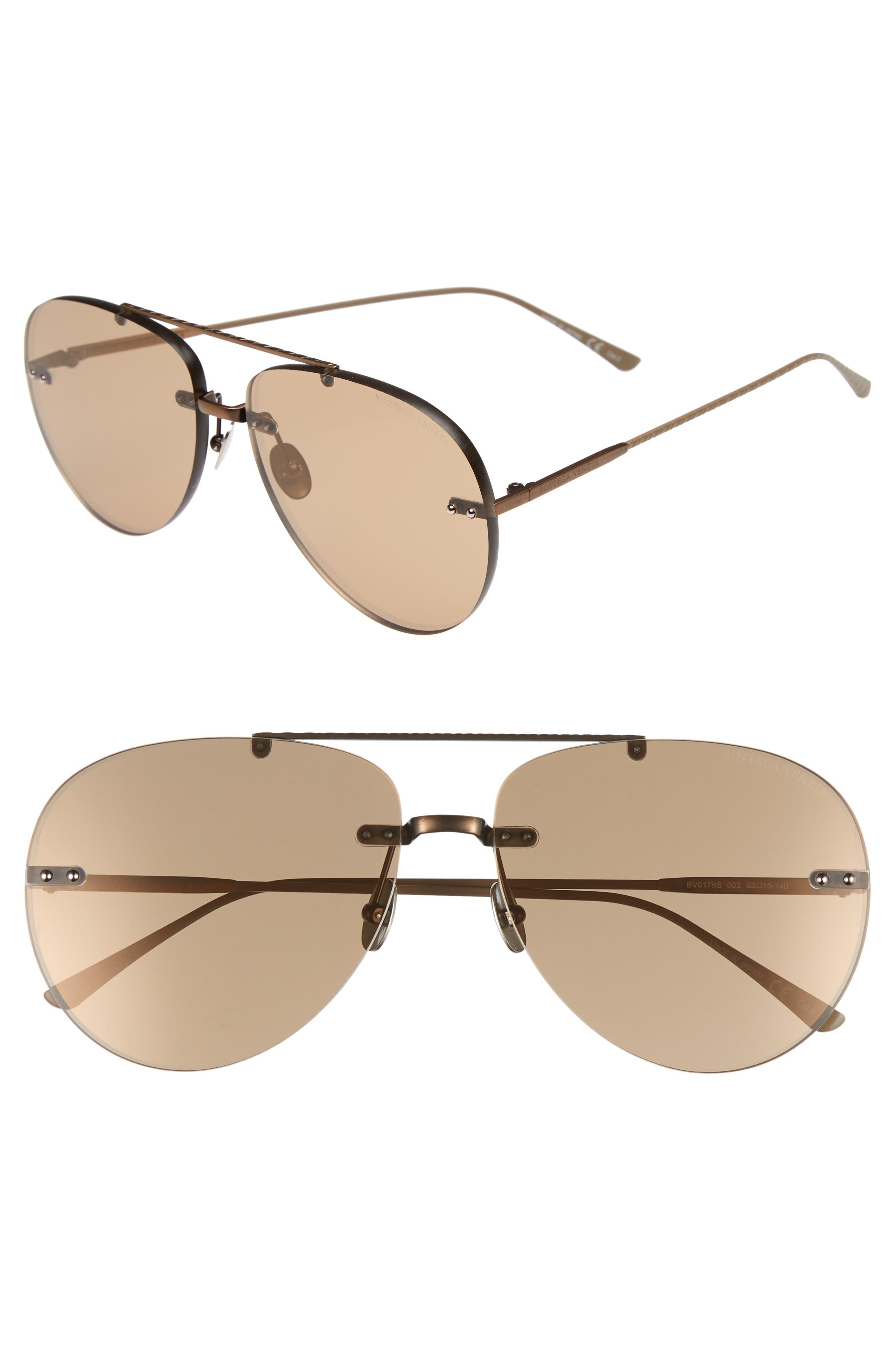 Bottega Veneta 63mm Aviator Sunglasses