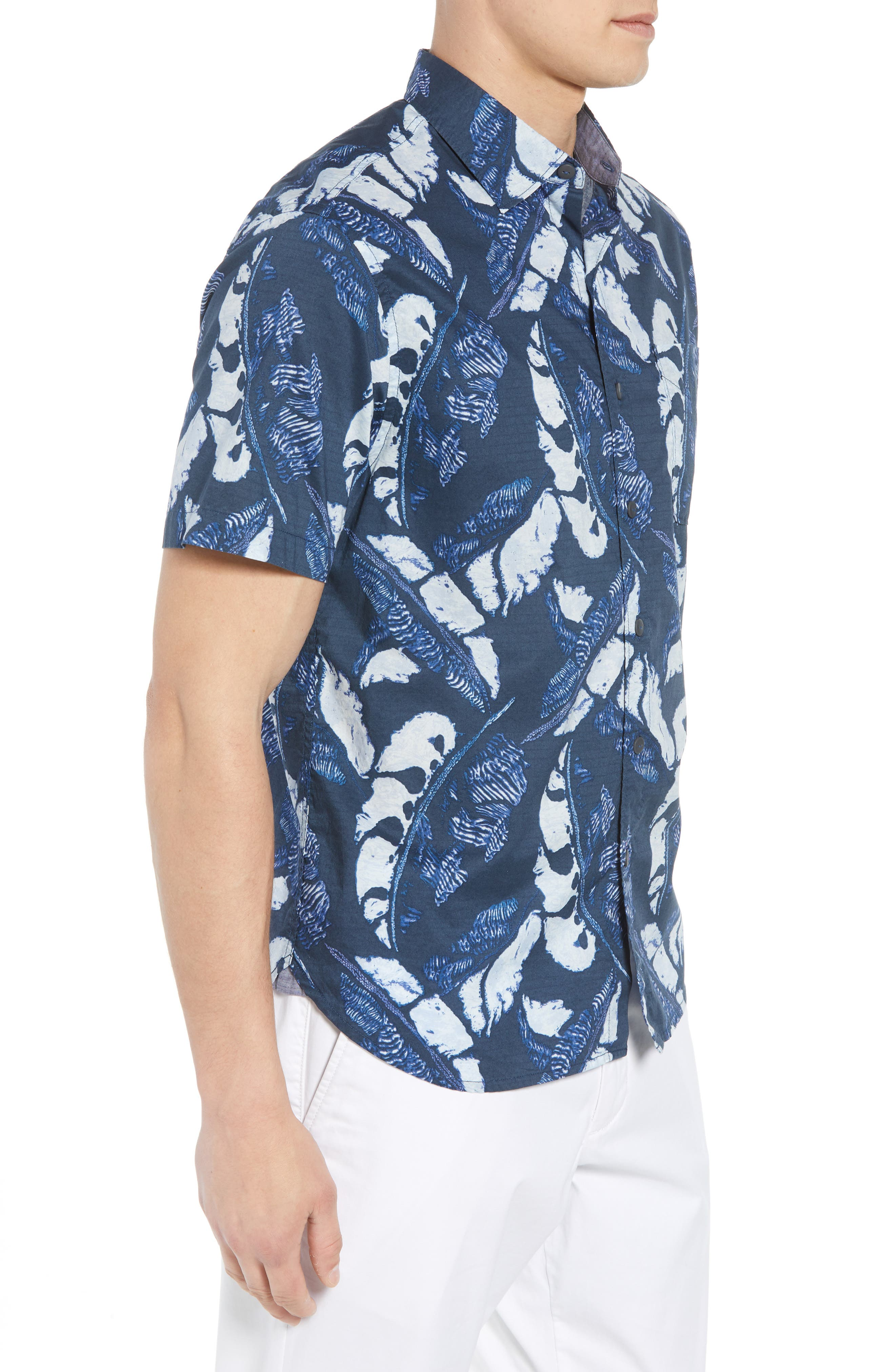 Lunar Leaves Sport Shirt,                             Alternate thumbnail 4, color,                             Ocean Deep