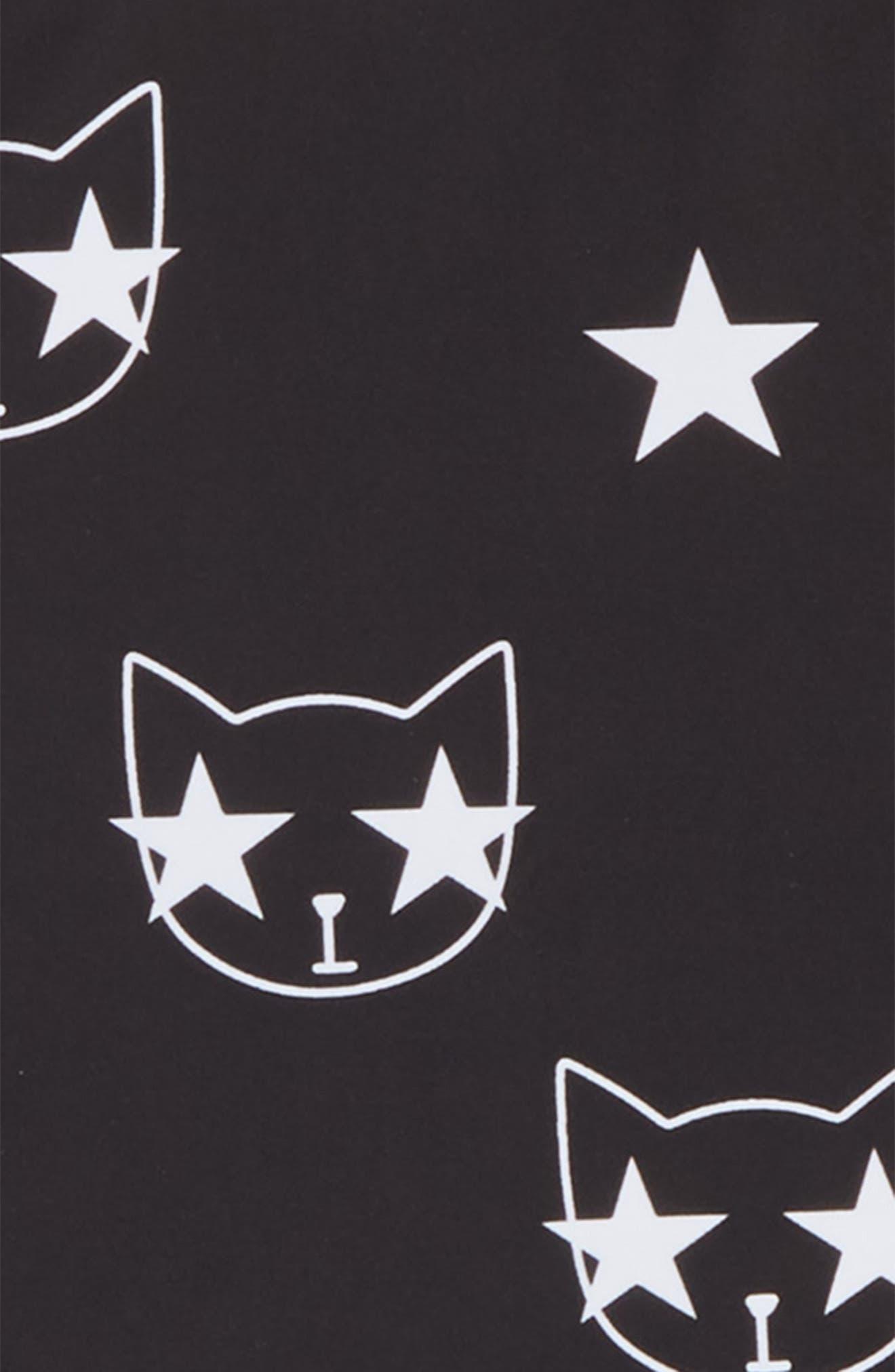 Starcat Two-Piece Rashguard Swimsuit,                             Alternate thumbnail 3, color,                             Black