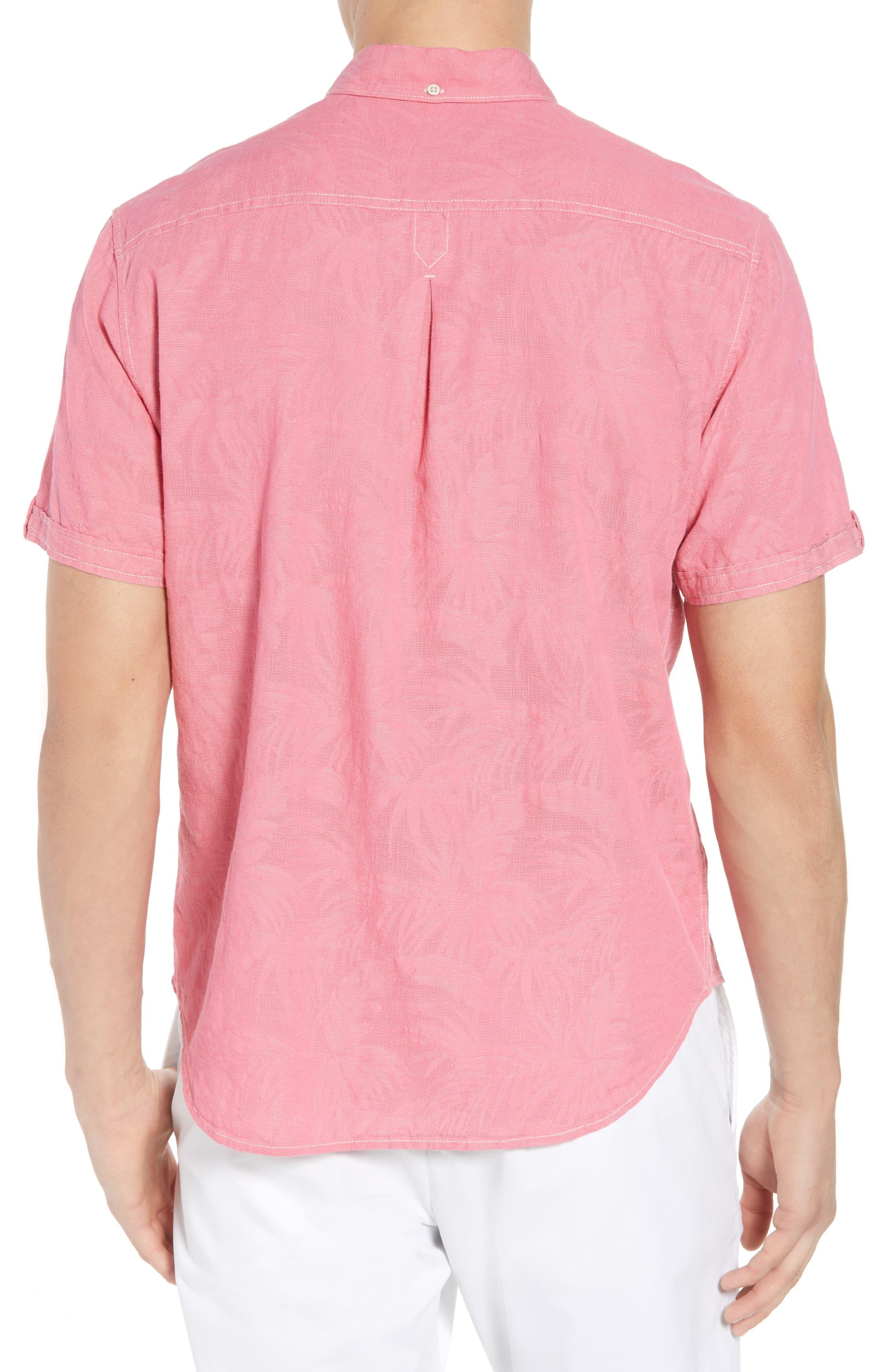 Desert Fronds Sport Shirt,                             Alternate thumbnail 3, color,                             Bright Rose