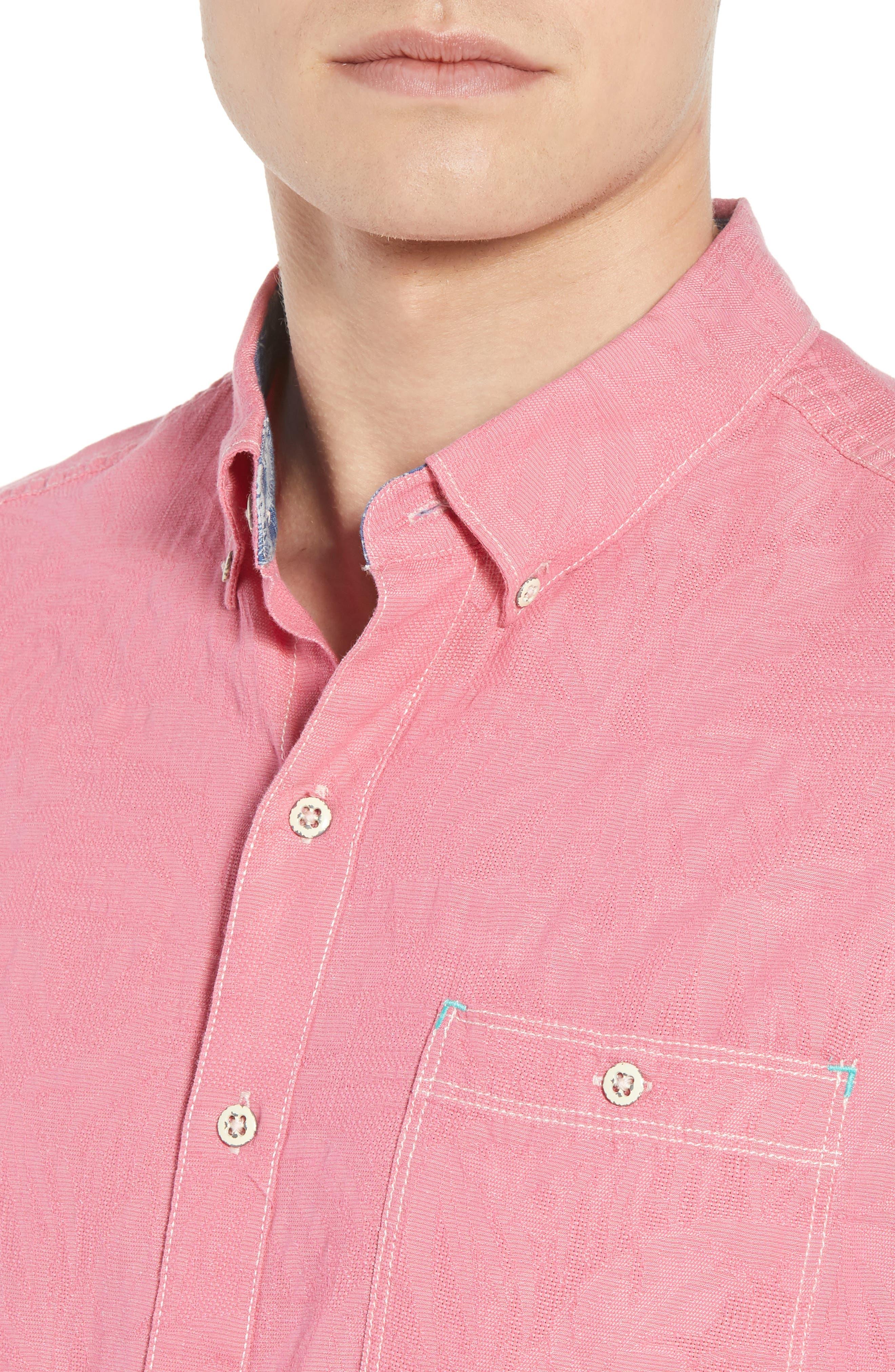 Desert Fronds Sport Shirt,                             Alternate thumbnail 2, color,                             Bright Rose