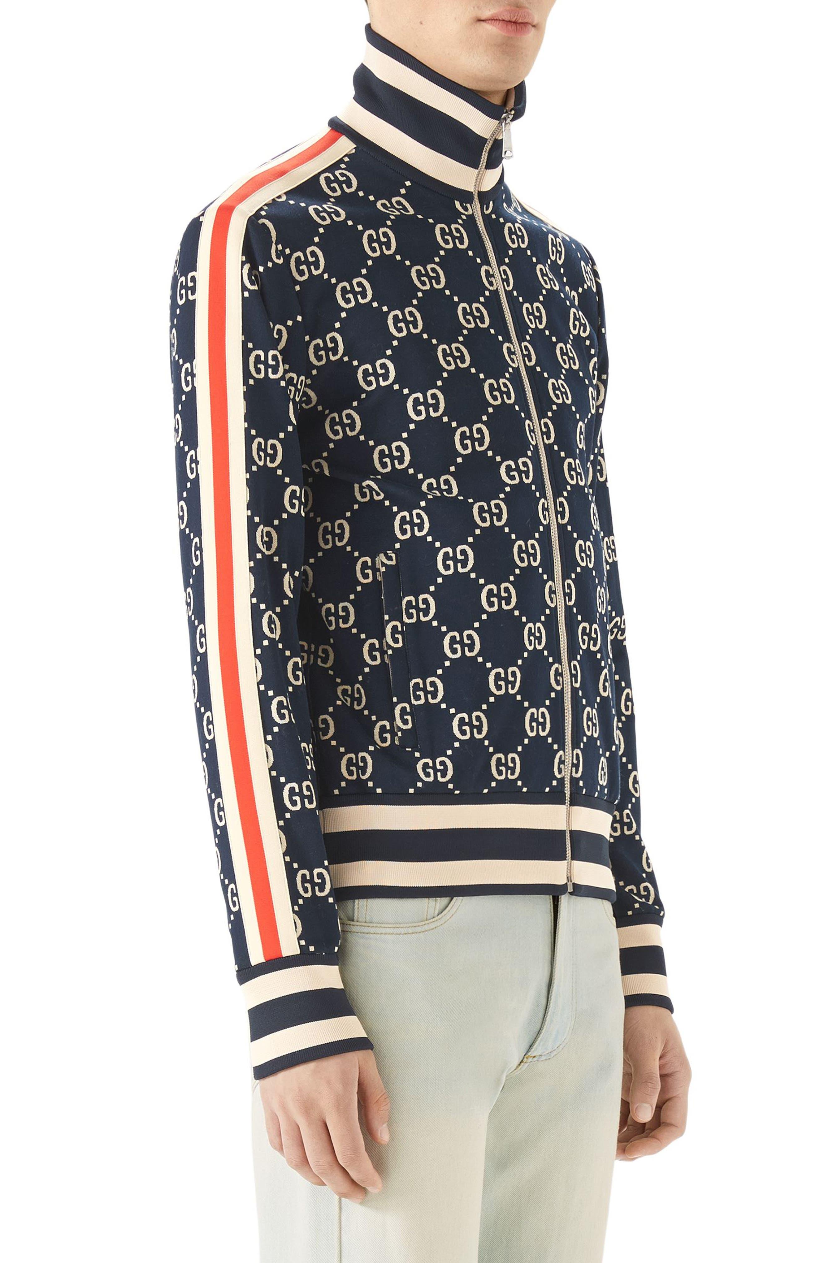 GG Jersey Track Jacket,                             Alternate thumbnail 3, color,                             Blue