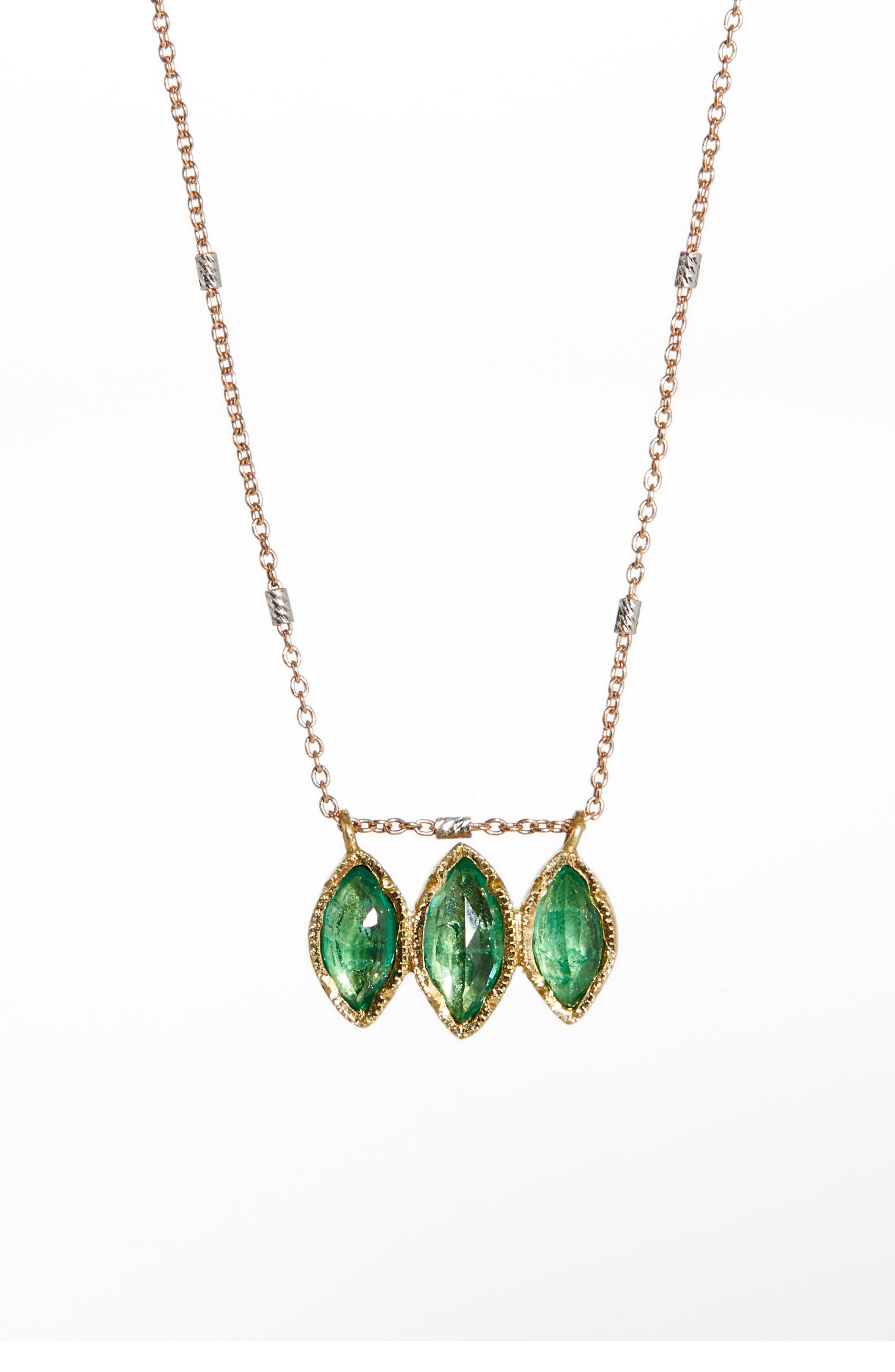Brooke Gregson Dew Drop Marquise Emerald Necklace