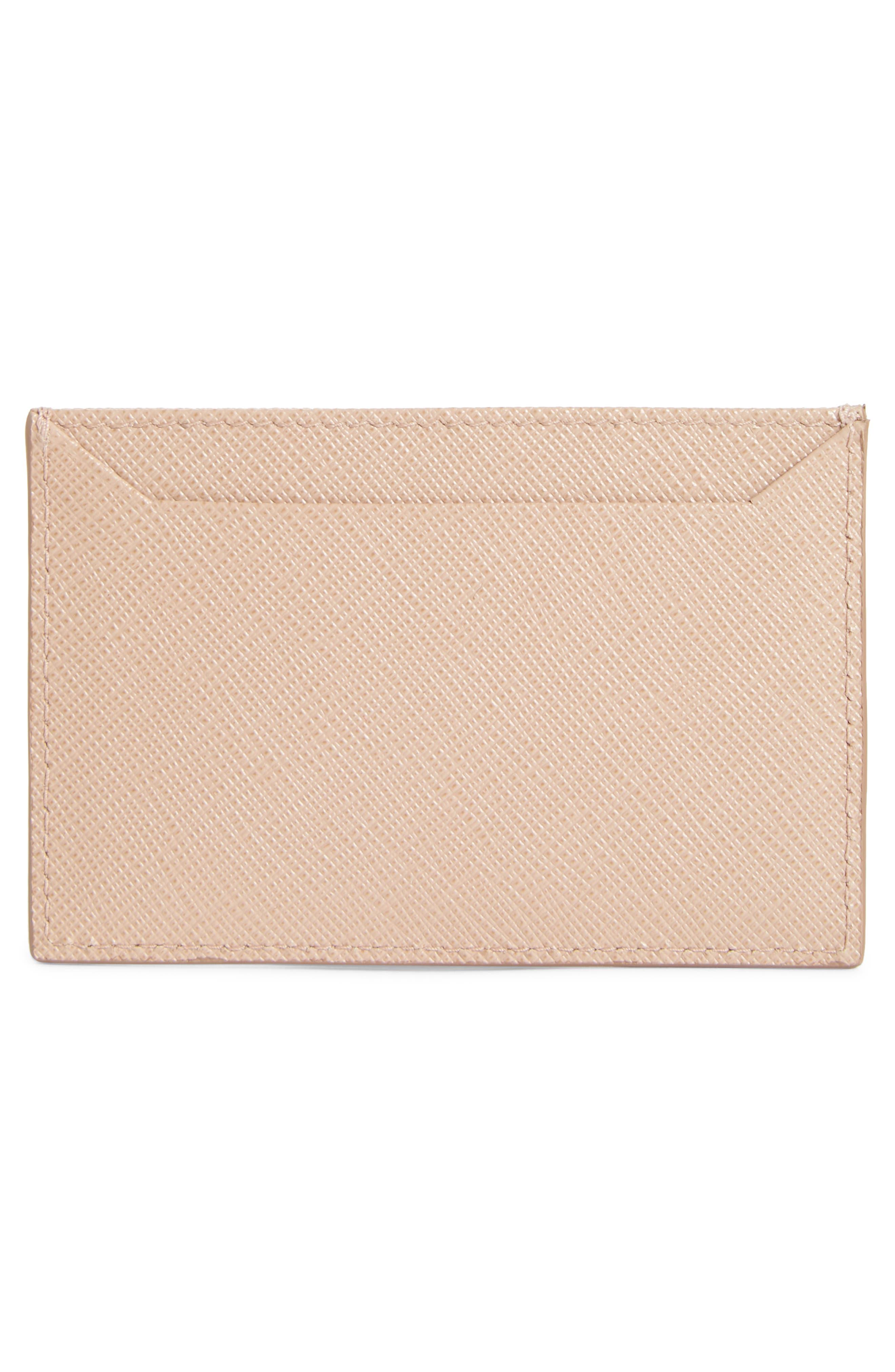 Saffiano Metal Oro Calfskin Leather Card Case,                             Alternate thumbnail 2, color,                             Cipria