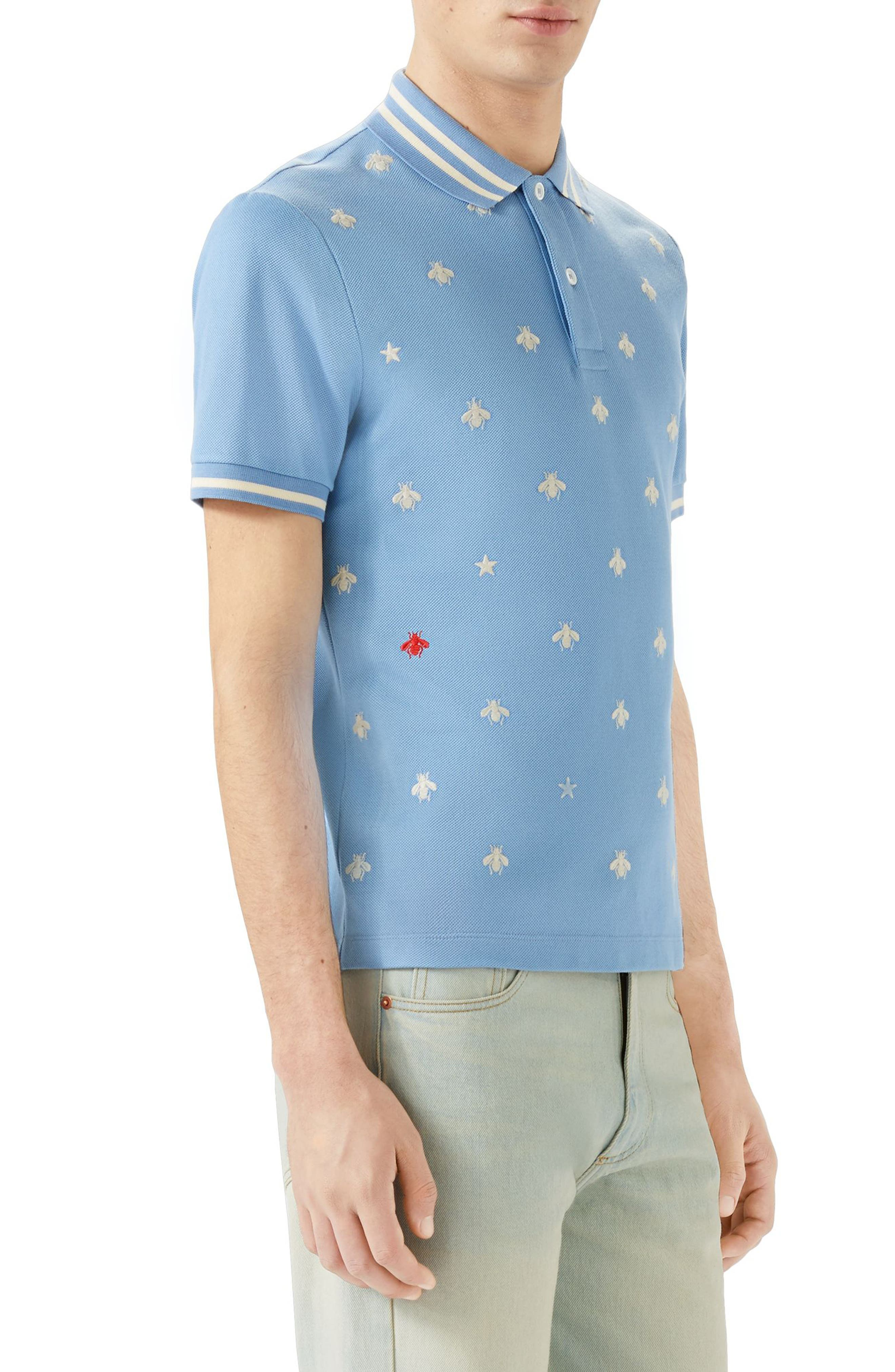 Embroidered Bee Piqué Polo,                             Alternate thumbnail 3, color,                             Light Blue