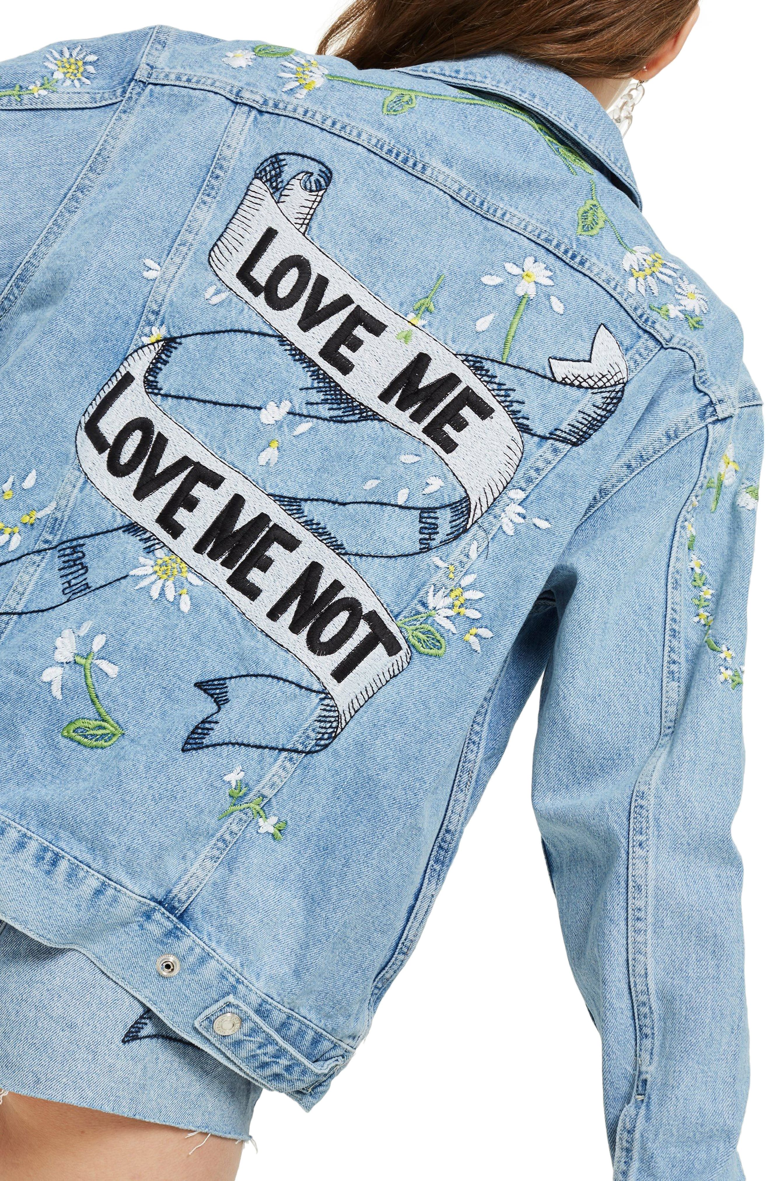 Love Me Not Embroidered Denim Jacket,                             Alternate thumbnail 2, color,                             Mid Denim Multi