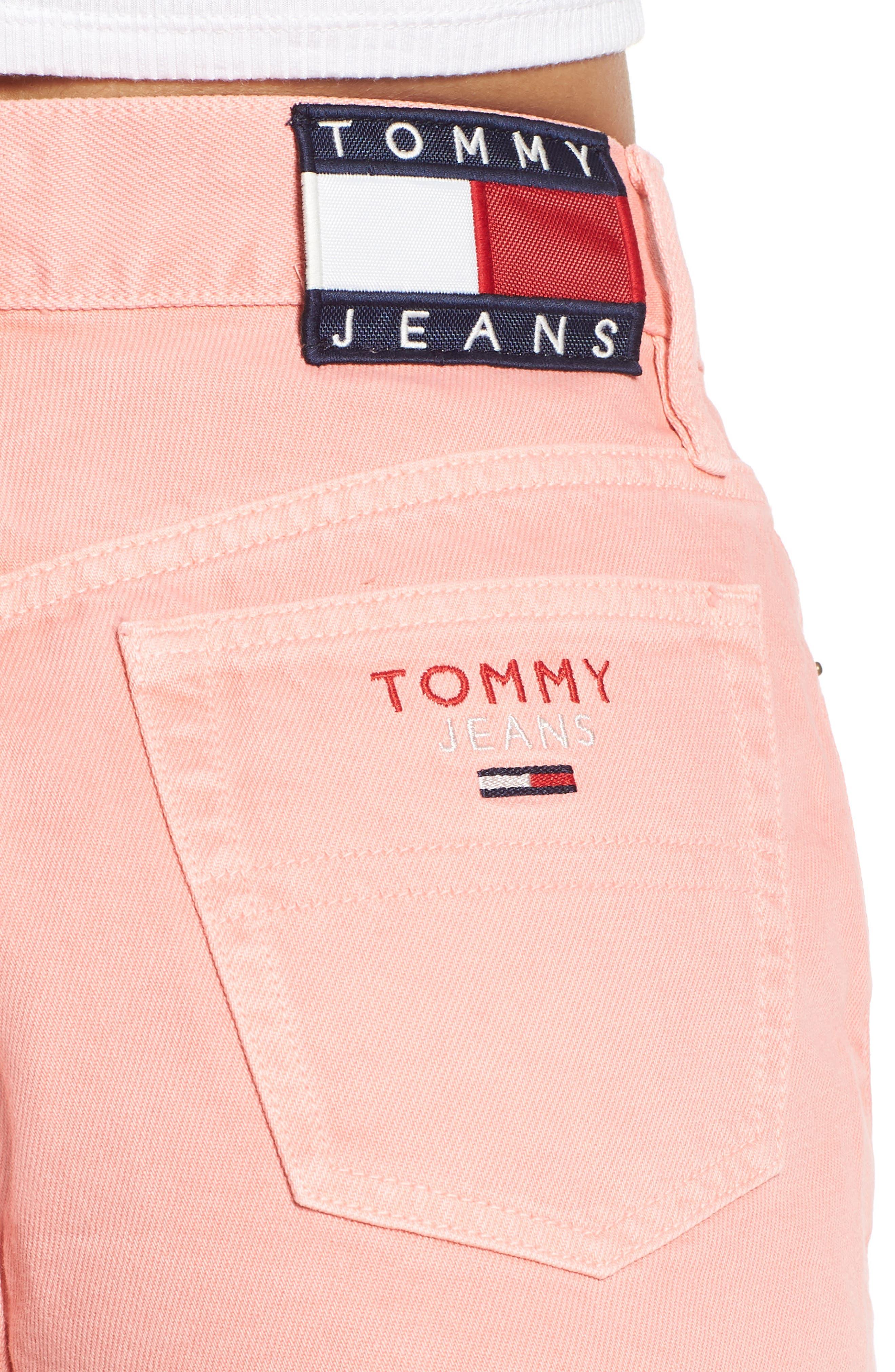 Fray Hem Denim Shorts,                             Alternate thumbnail 4, color,                             Quartz Pink