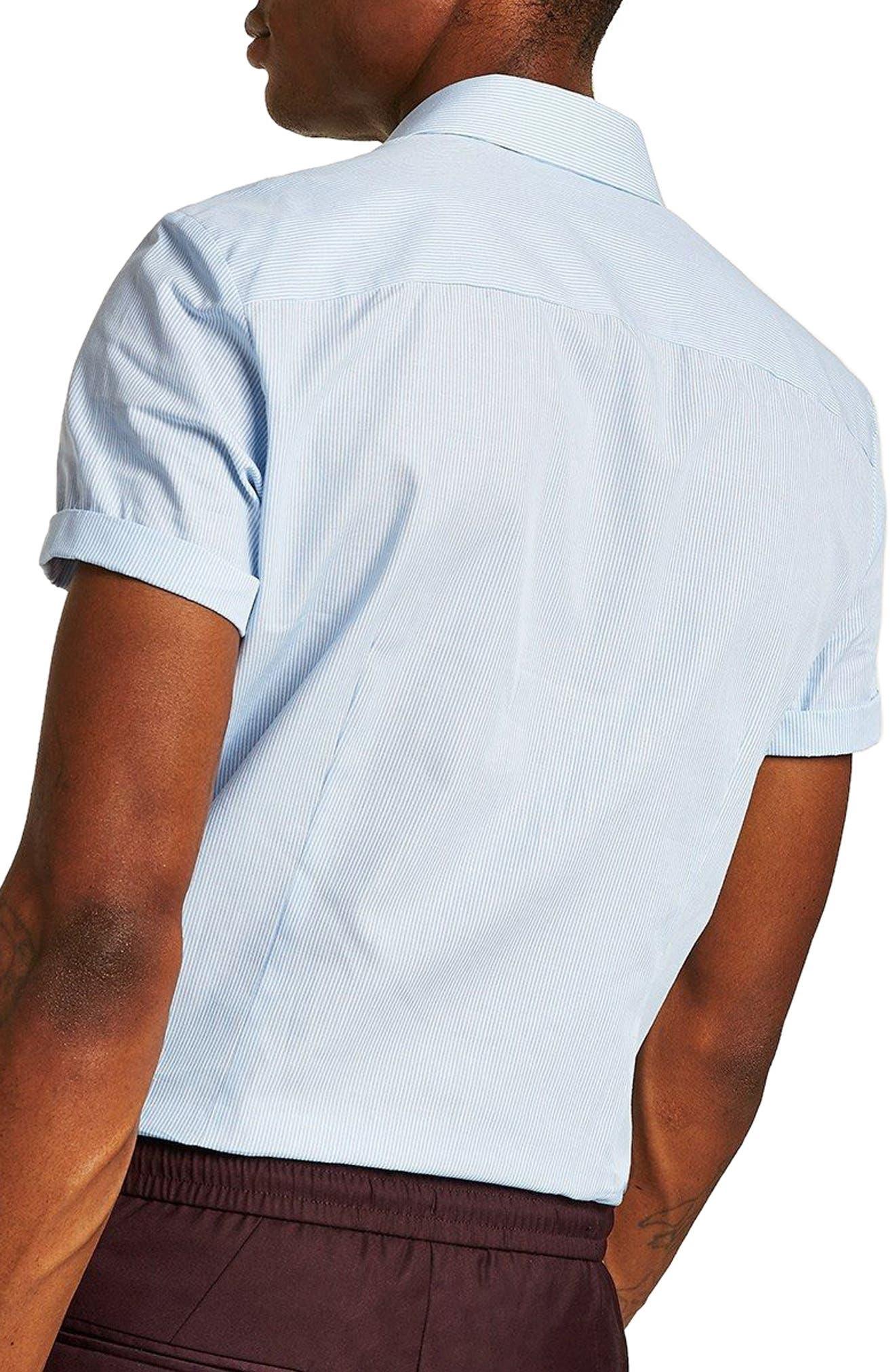 Slim Fit Stripe Shirt,                             Alternate thumbnail 3, color,                             Blue Bulti