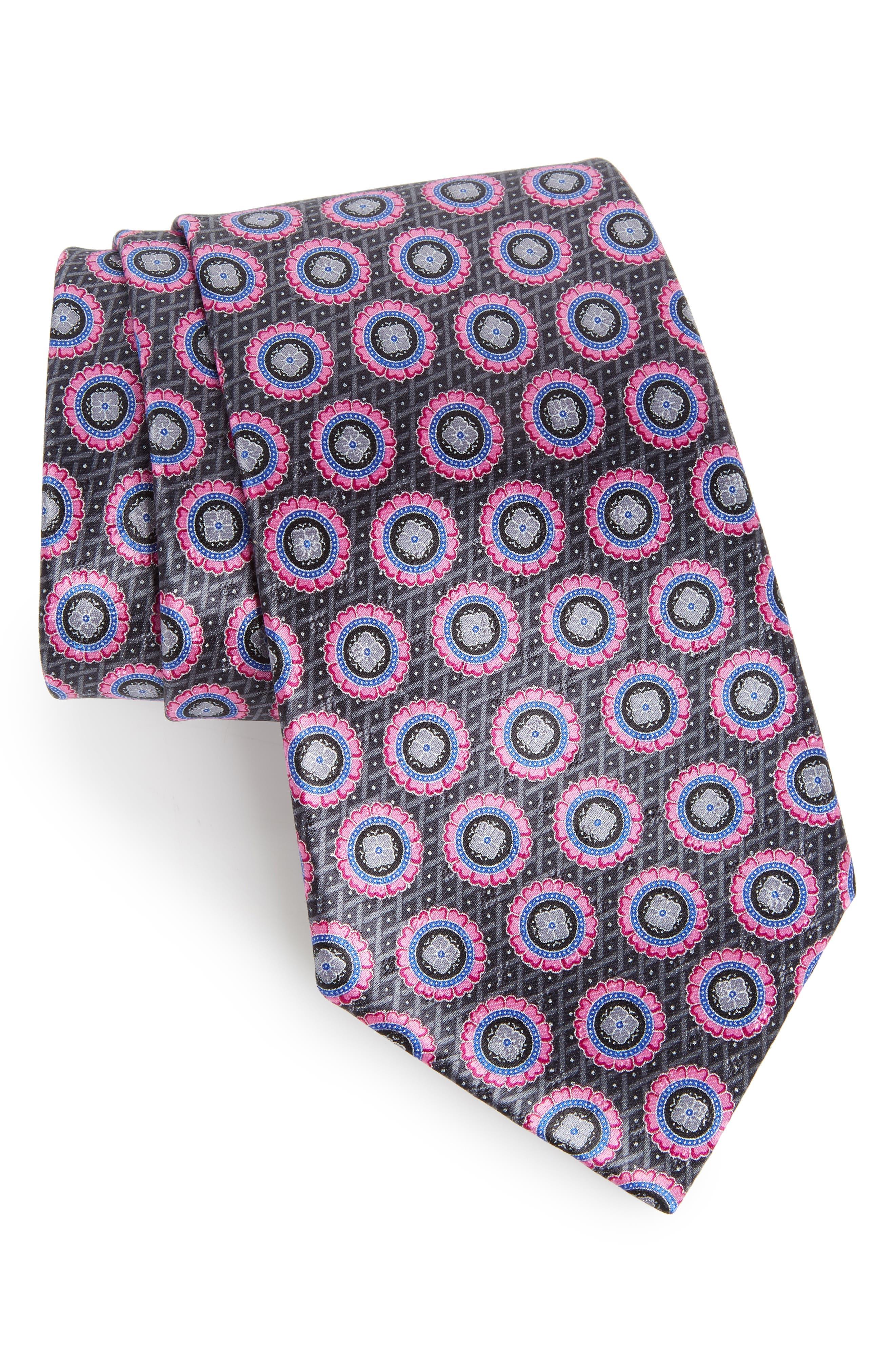 Ermenegildo Zenga Medallion Silk Tie,                         Main,                         color, Purple