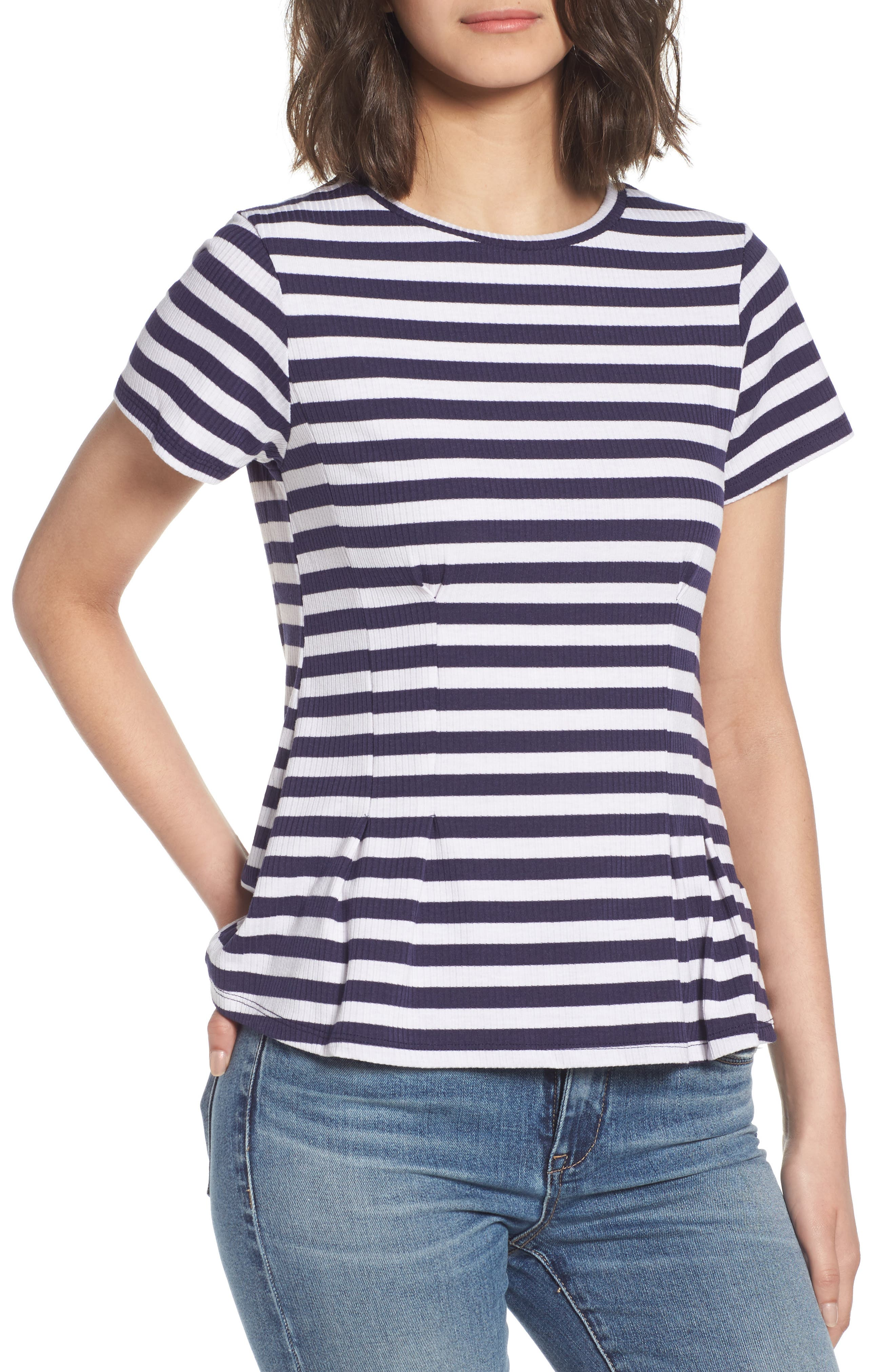 Stripe Peplum Tee,                         Main,                         color, Navy/ White Stripe