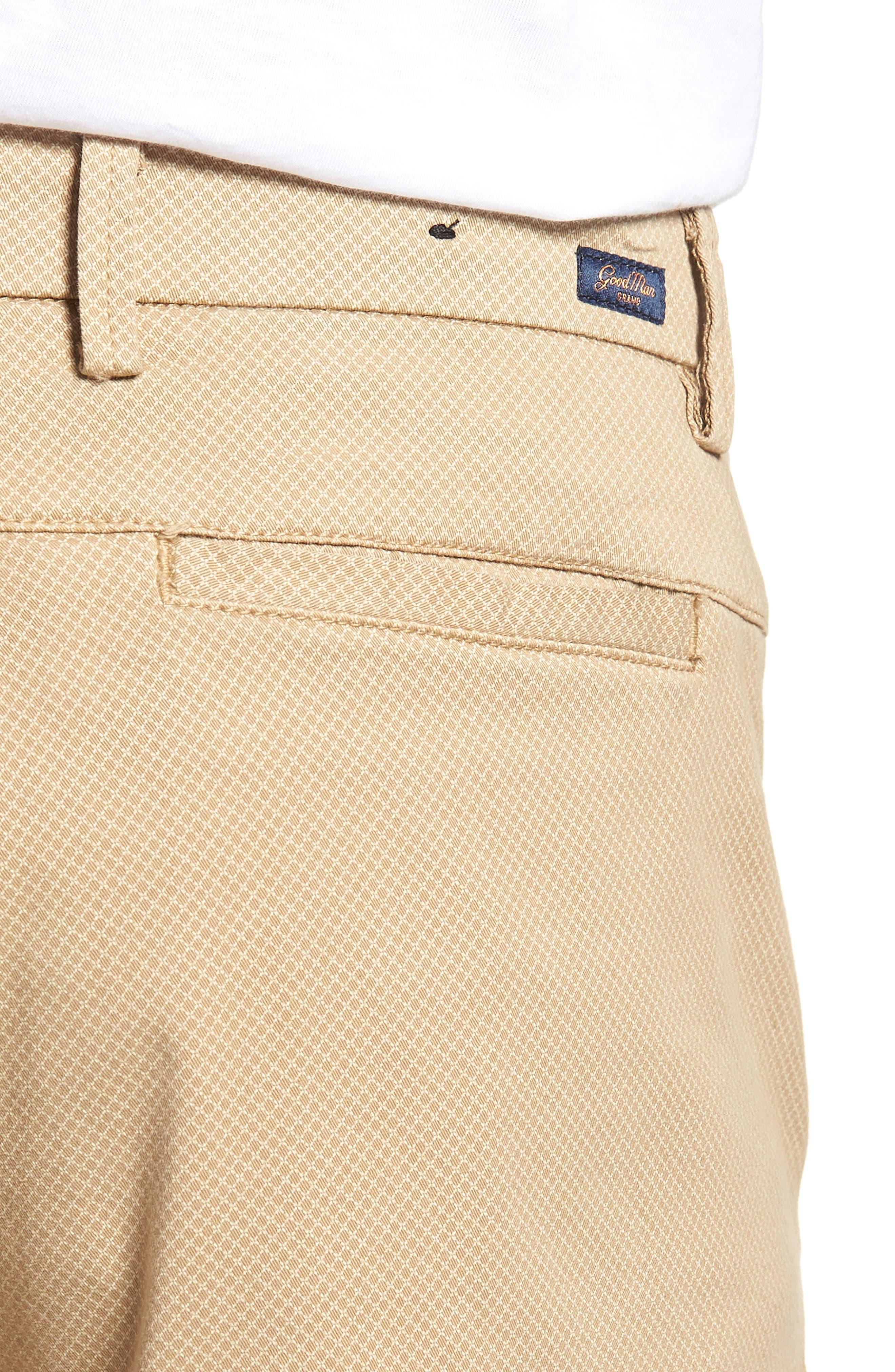 Monaco Diamond Dash Modern Fit Chino Shorts,                             Alternate thumbnail 4, color,                             Khaki