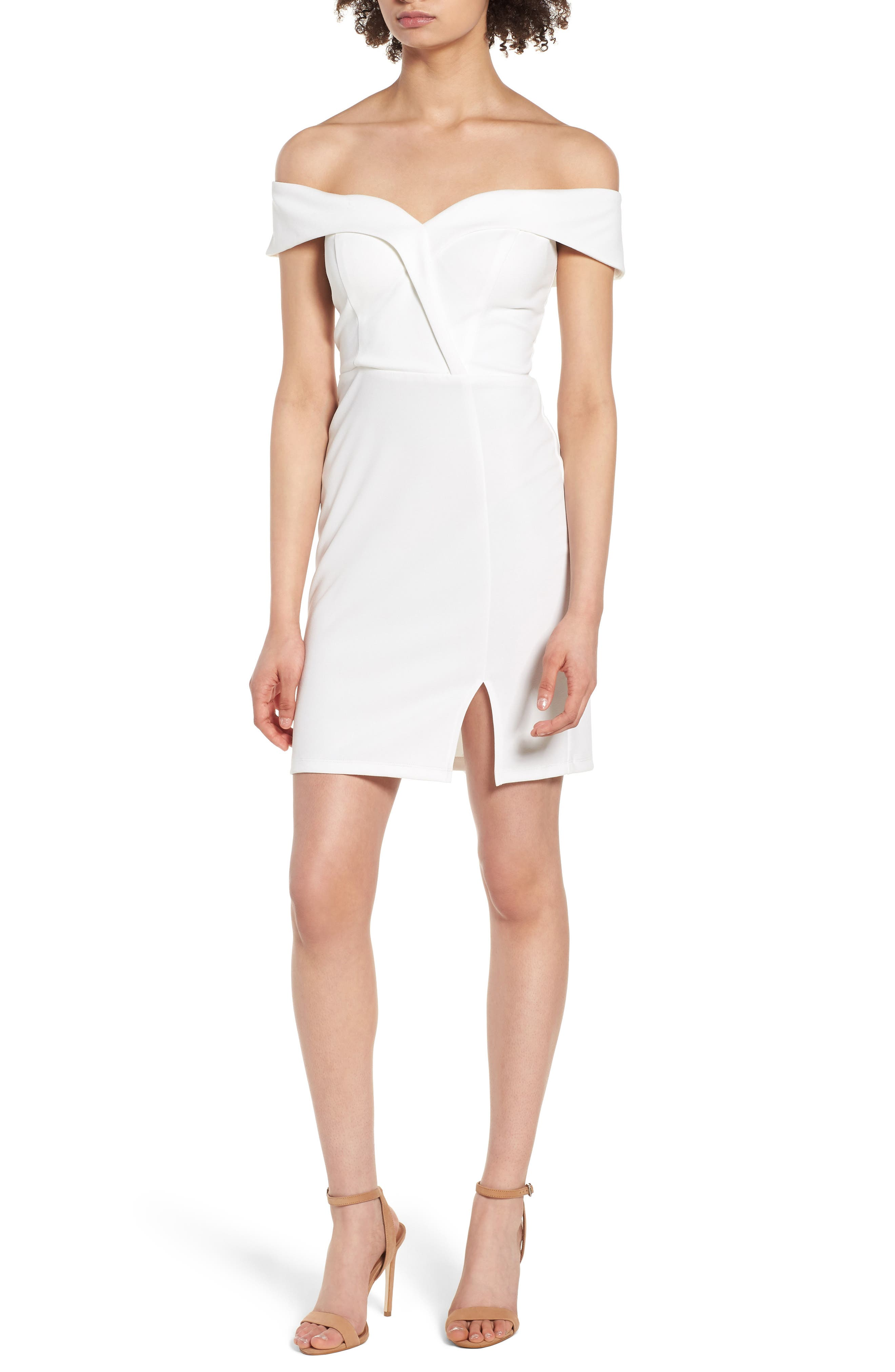 Off the Shoulder Body-Con Dress,                         Main,                         color, Ivory