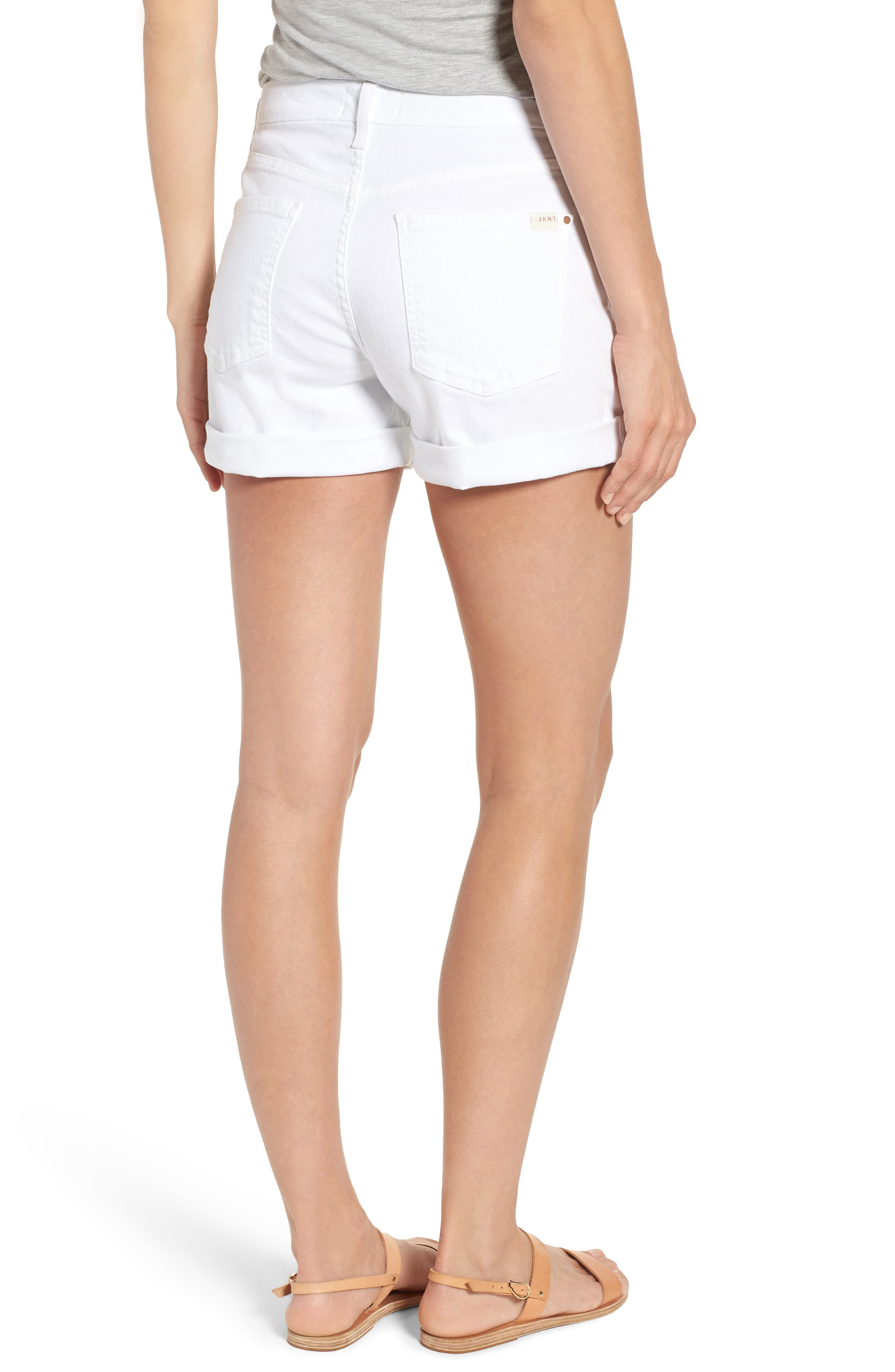 Rolled Denim Shorts,                             Alternate thumbnail 2, color,                             White