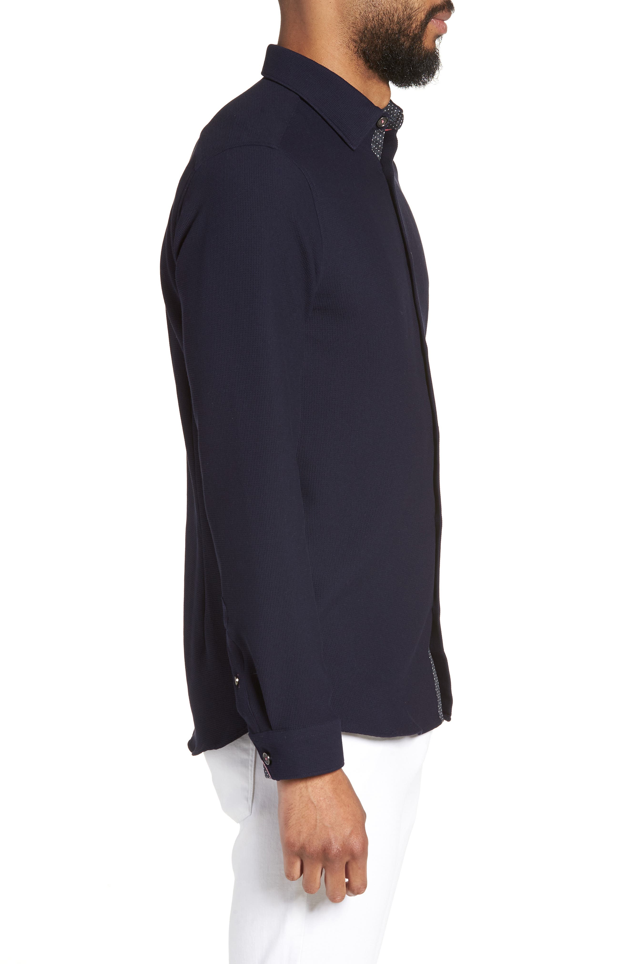 Loretax Trim Fit Stretch Knit Sport Shirt,                             Alternate thumbnail 4, color,                             Navy