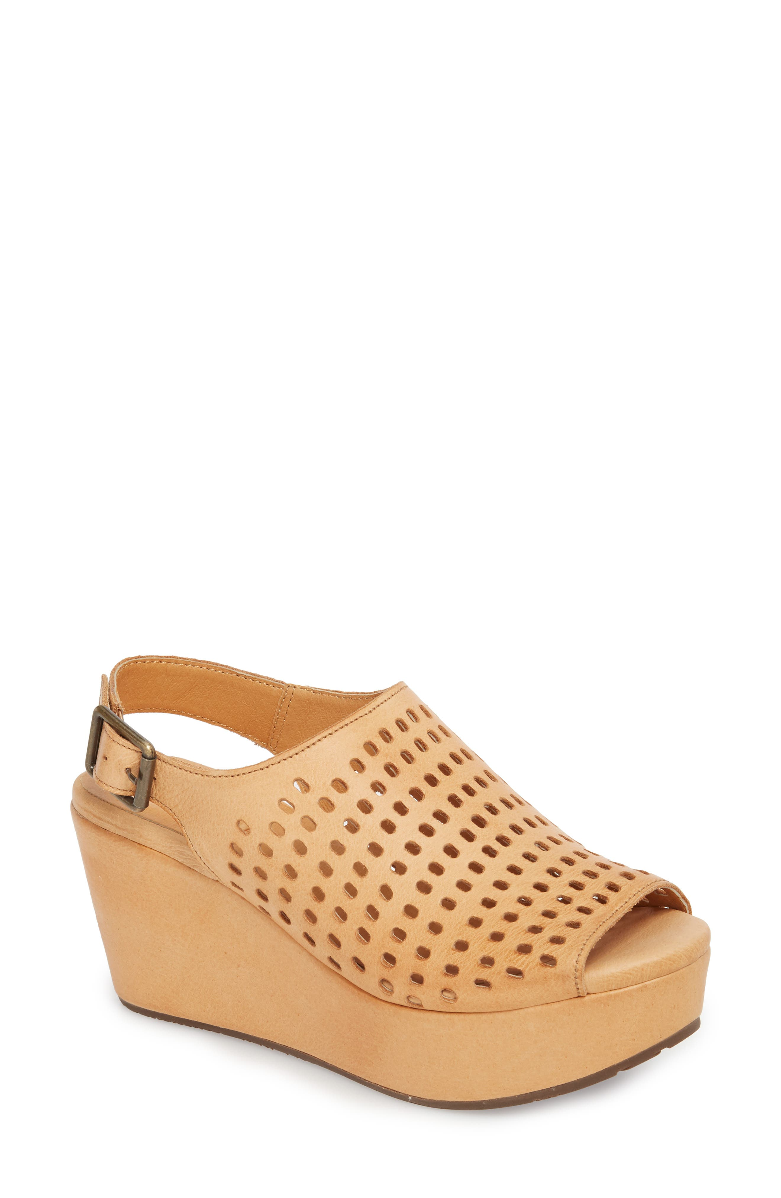 Wally Platform Wedge Sandal,                         Main,                         color, Tan Leather