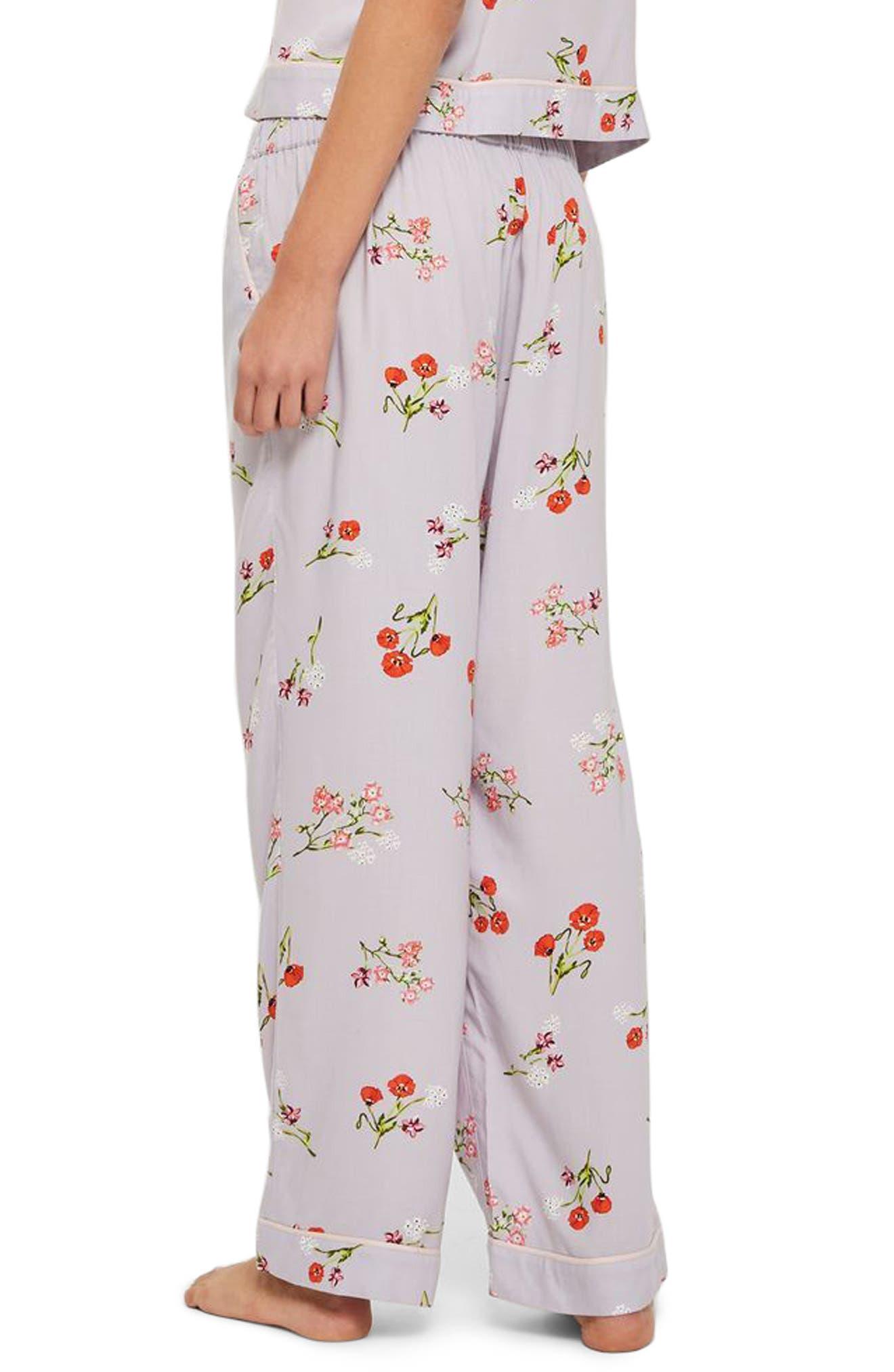 Poppy Print Pajama Pants,                             Alternate thumbnail 2, color,                             Light Blue Multi