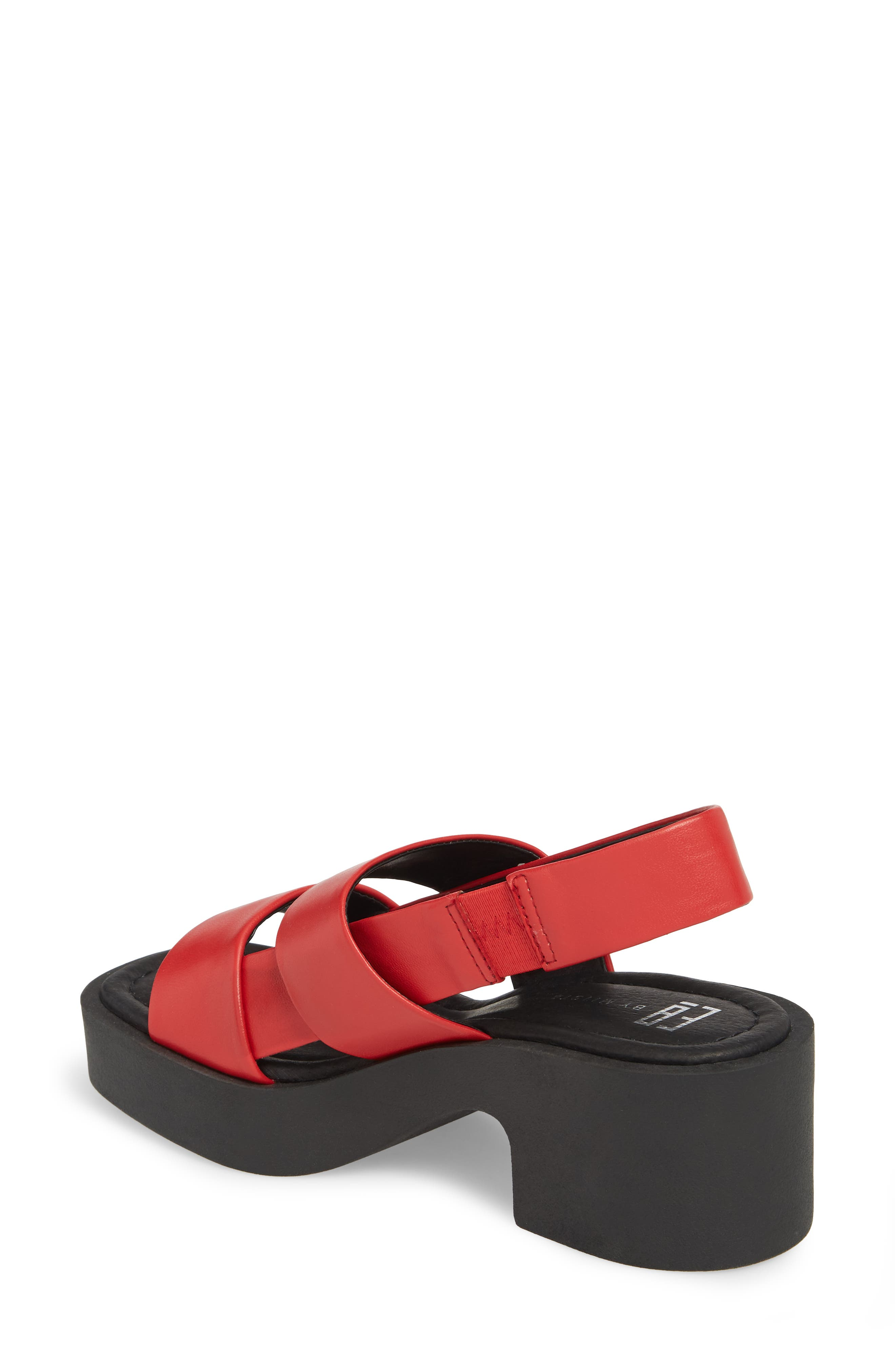 Hazel Slingback Sandal,                             Alternate thumbnail 2, color,                             Red Leather