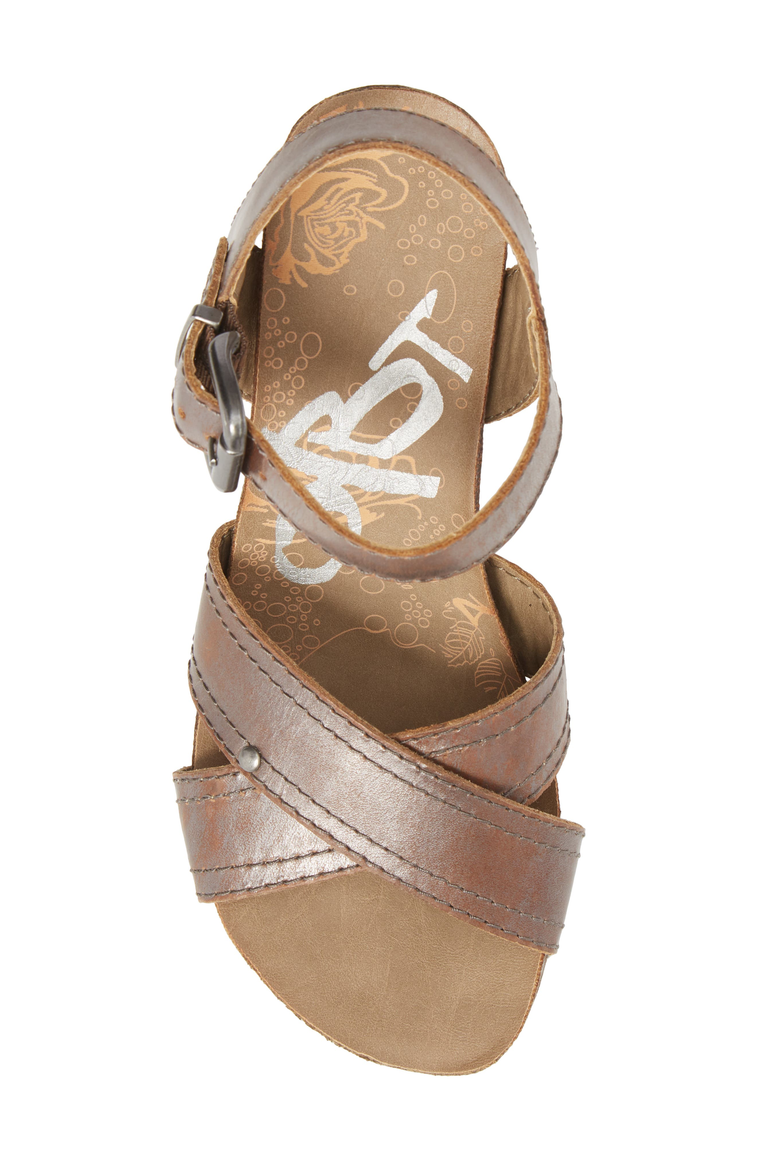 Bee Cave Wedge Sandal,                             Alternate thumbnail 5, color,                             Pewter Leather