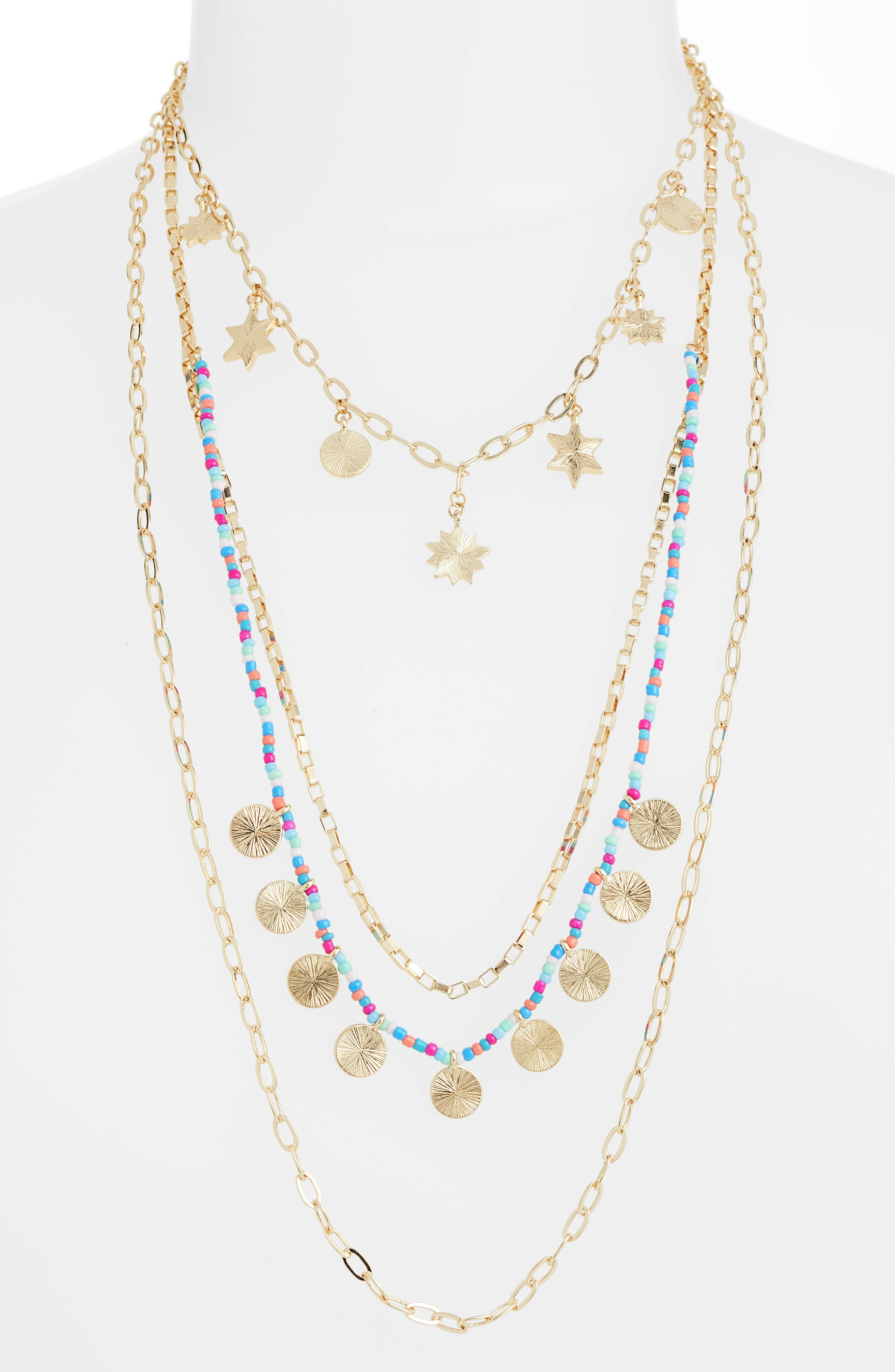 Sole Charm Statement Multistrand Necklace,                             Main thumbnail 1, color,                             Bright Multi/ Gold
