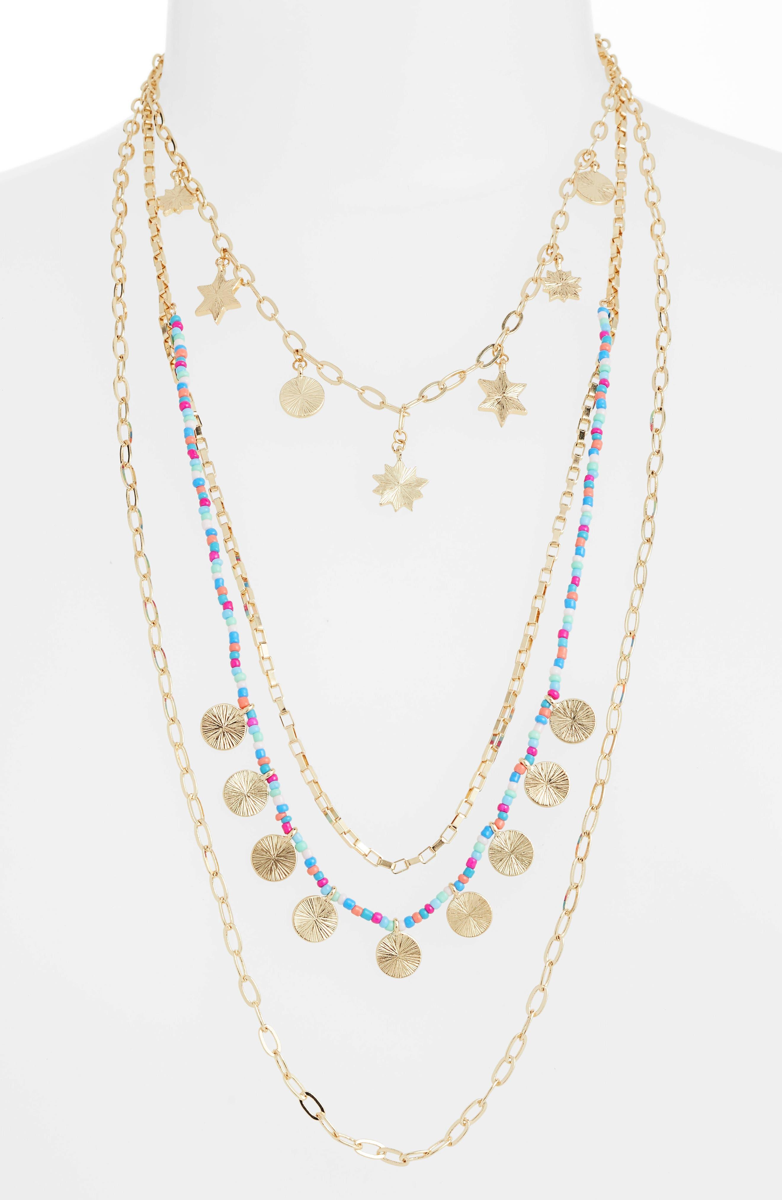 Sole Charm Statement Multistrand Necklace,                         Main,                         color, Bright Multi/ Gold