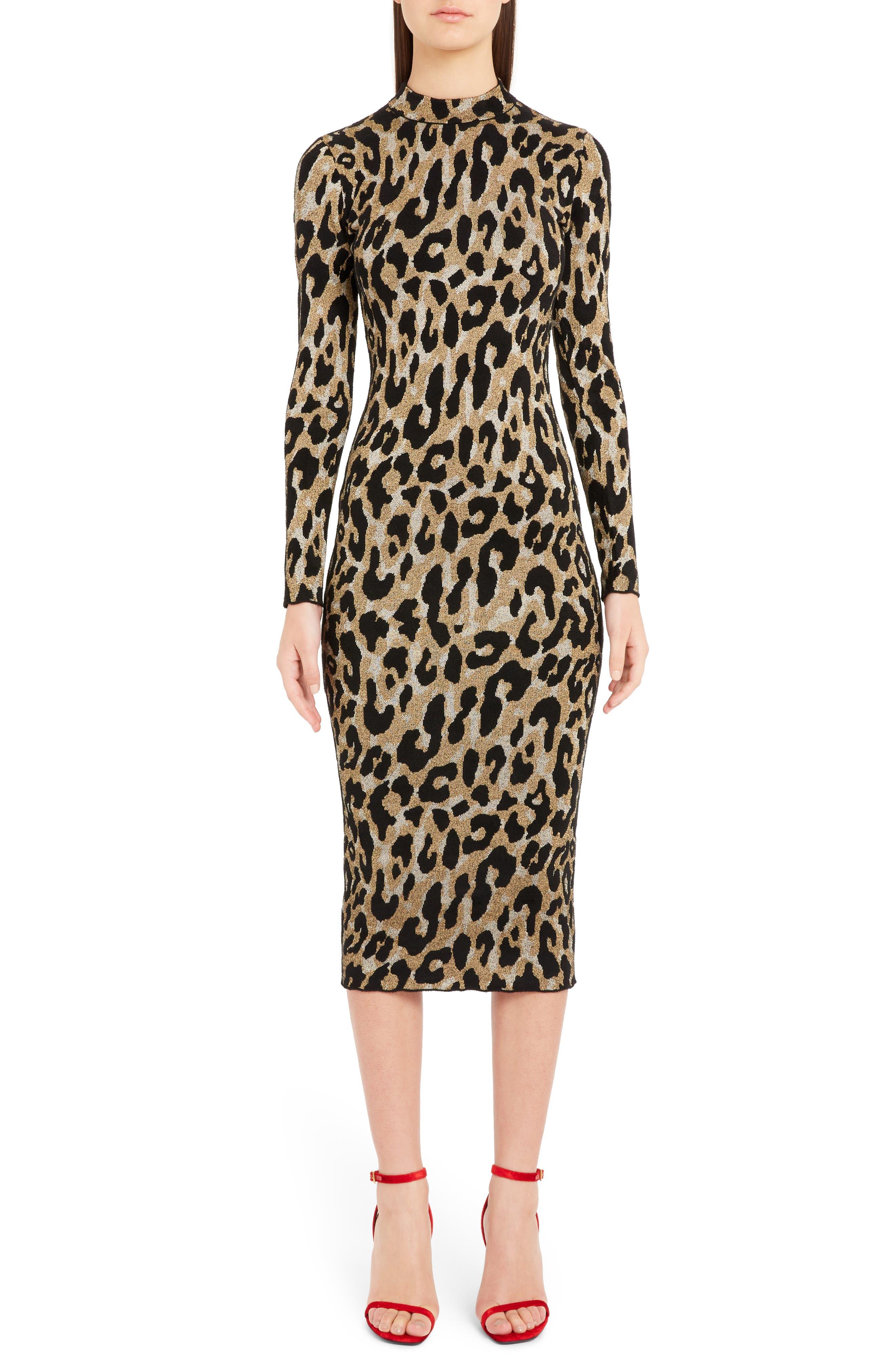 Versace Leopard Print Body-Con Dress