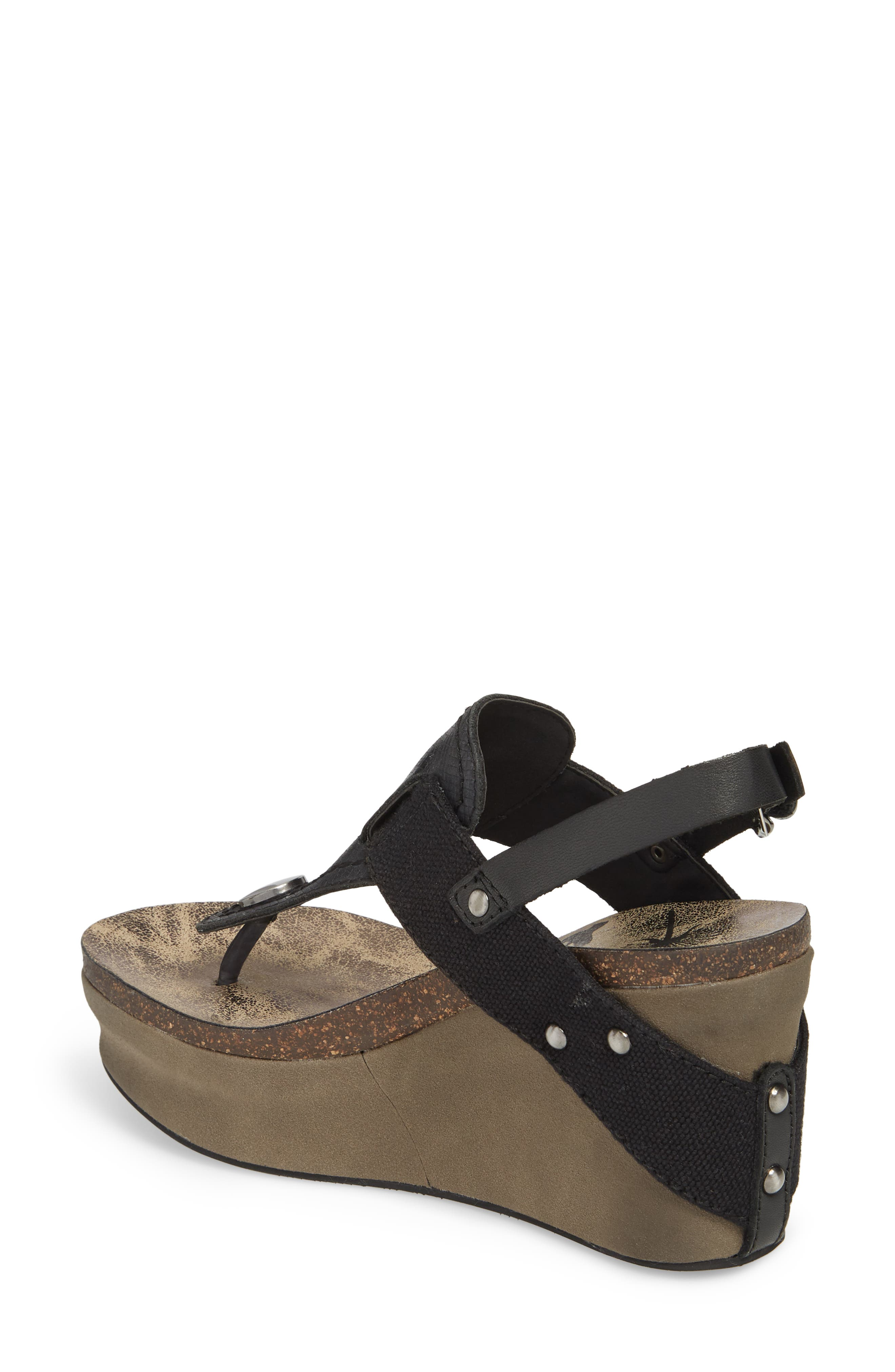 Joyride Wedge Sandal,                             Alternate thumbnail 2, color,                             Black Leather