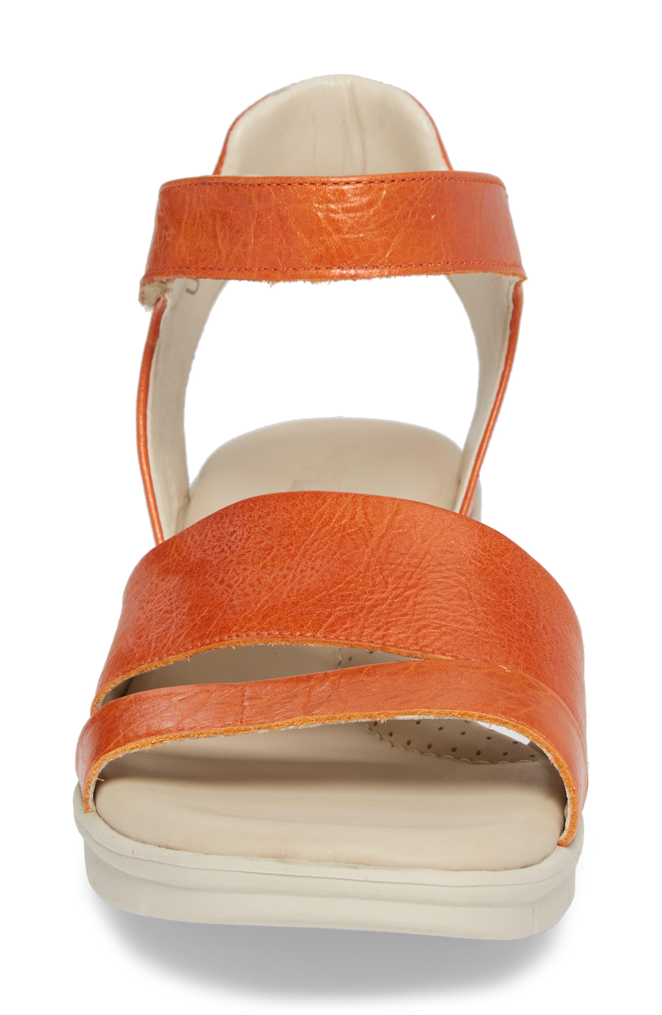 Crossover Ankle Strap Sandal,                             Alternate thumbnail 4, color,                             Mandarin Leather