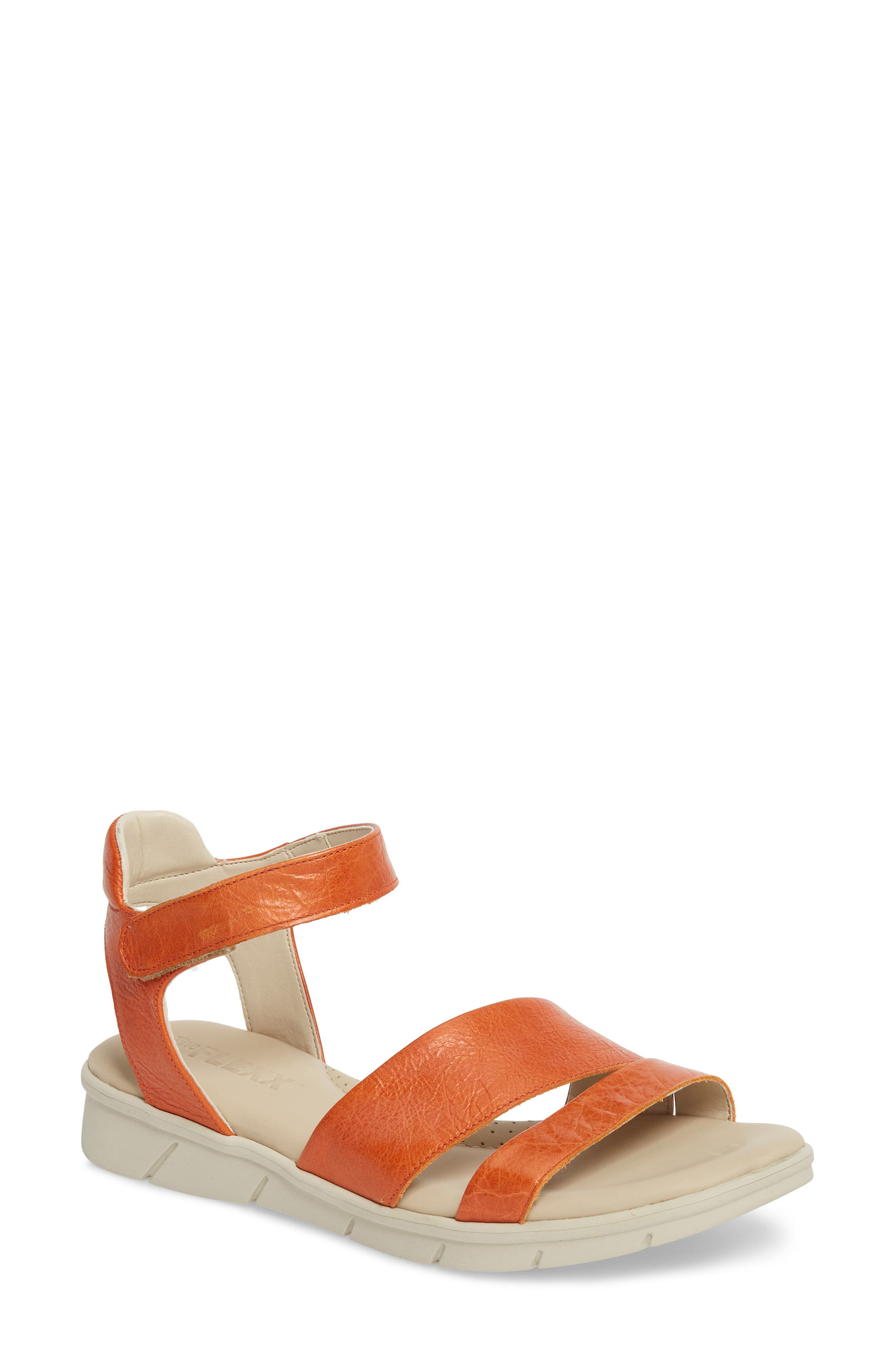 Crossover Ankle Strap Sandal,                             Main thumbnail 1, color,                             Mandarin Leather