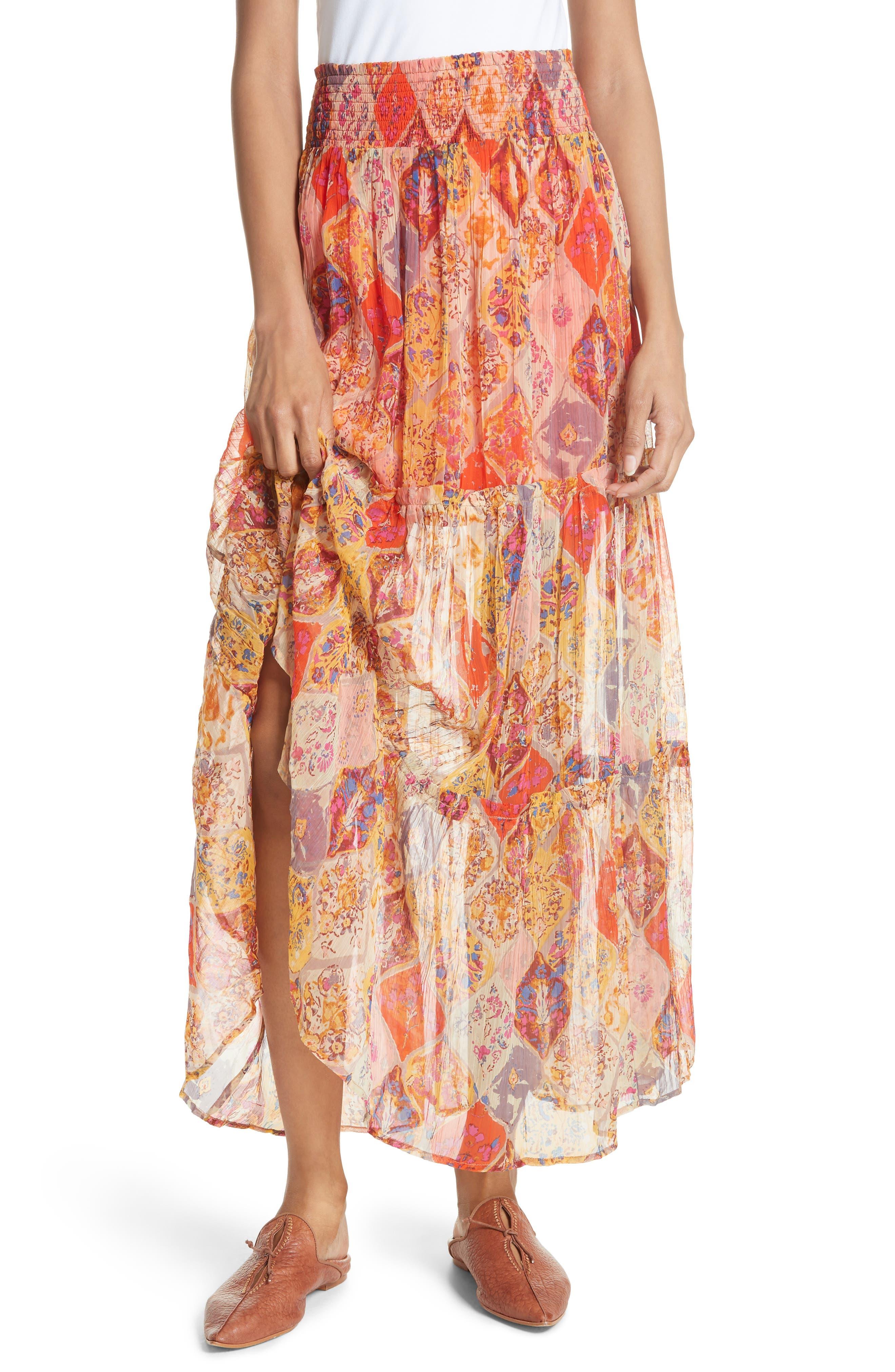 The Great Escape Print Maxi Skirt,                             Main thumbnail 1, color,                             Orange