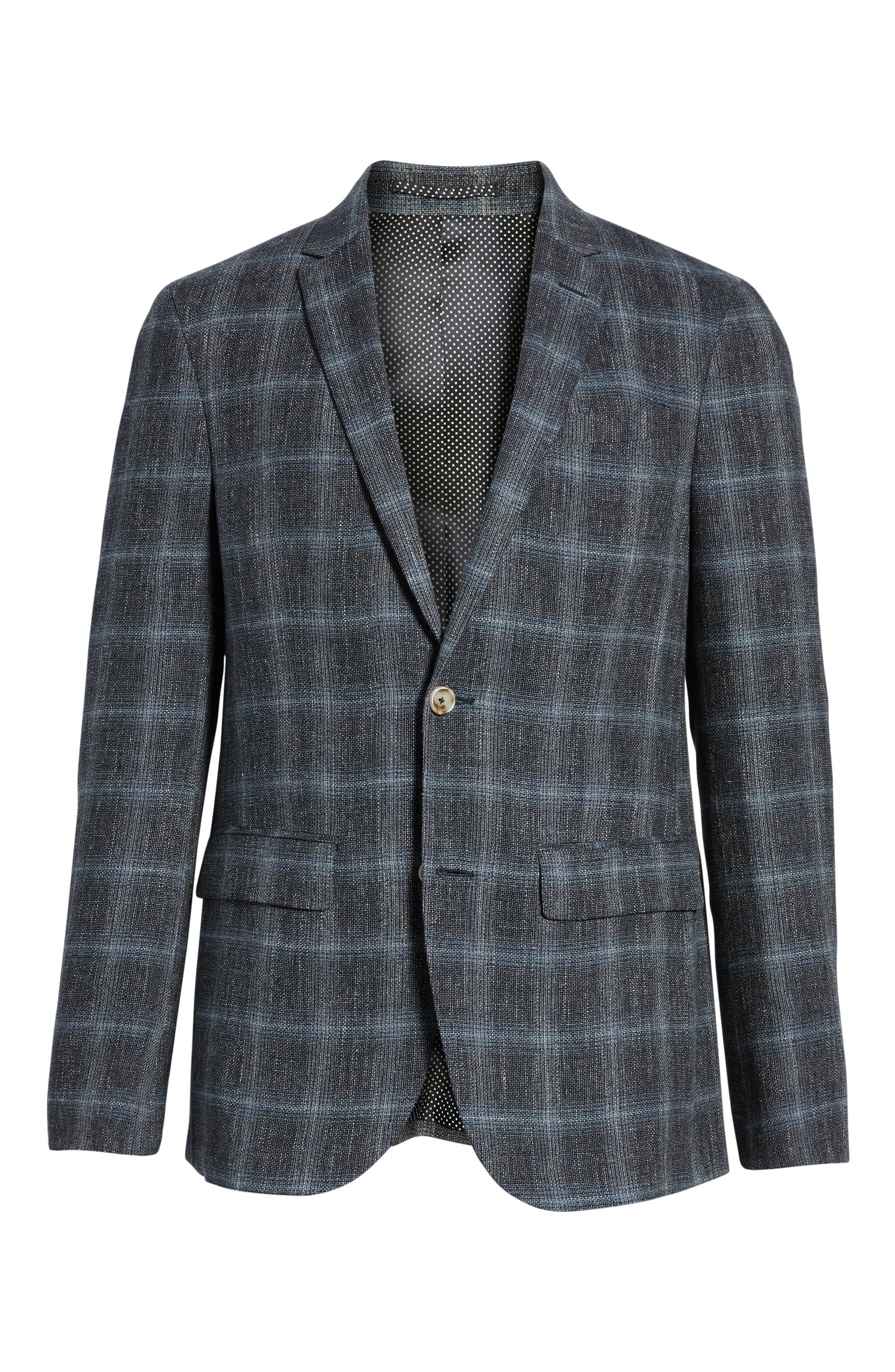 Trim Fit Plaid Sport Coat,                             Alternate thumbnail 6, color,                             Grey