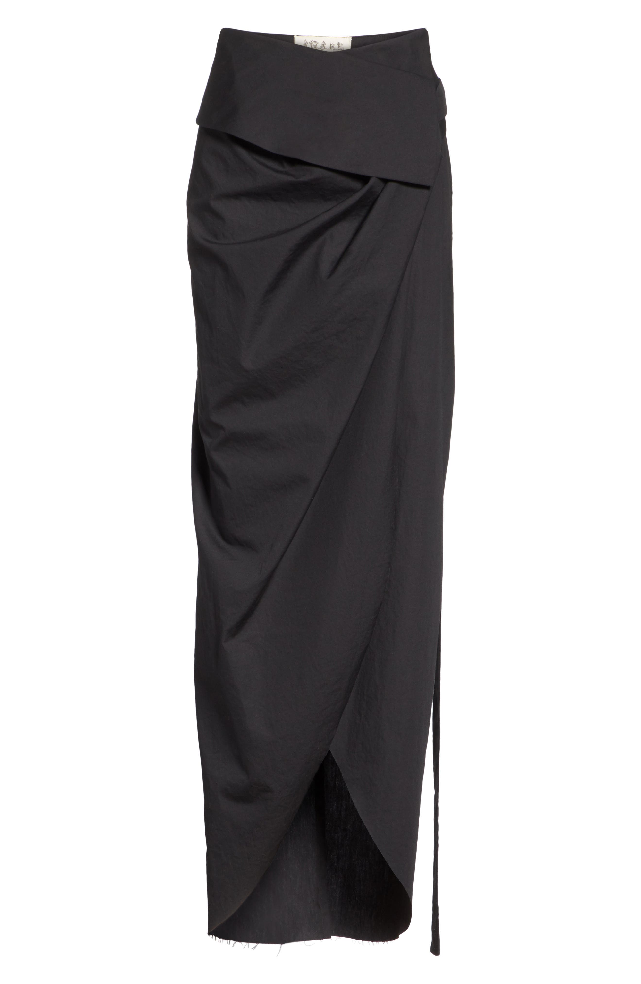High Waist Wrap Skirt,                             Alternate thumbnail 6, color,                             Black