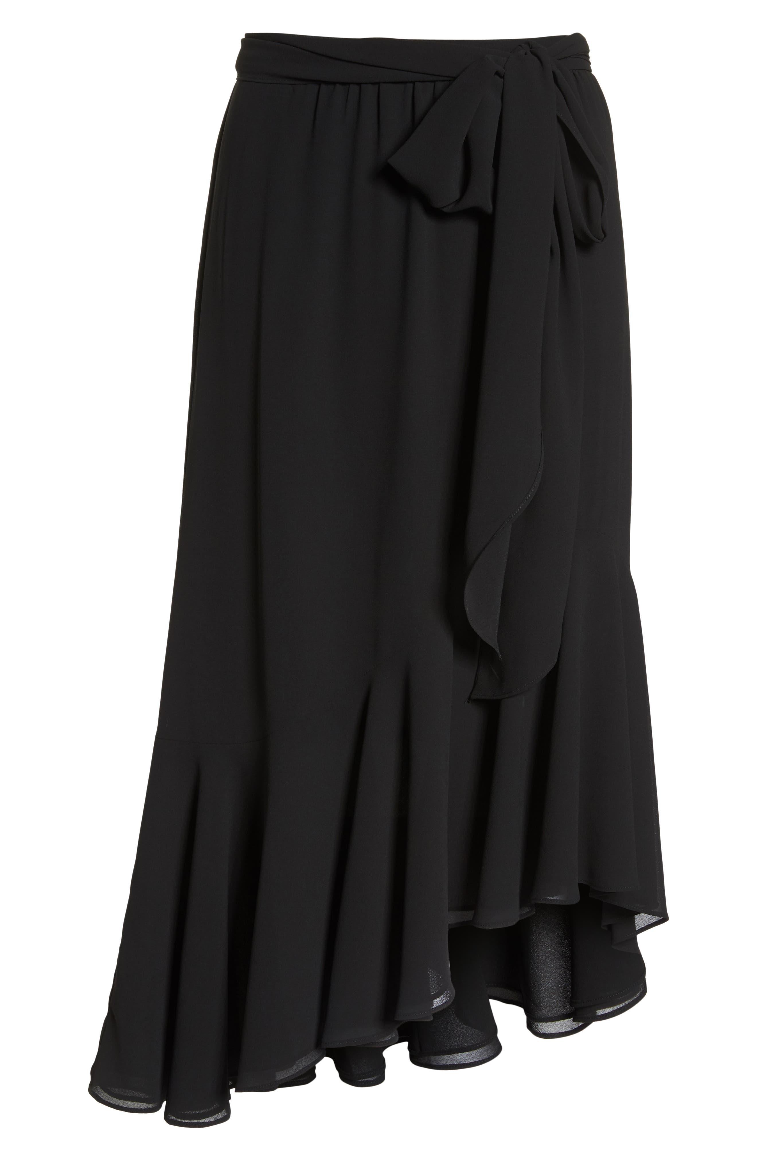 Asymmetrical High/Low Flounce Skirt,                             Alternate thumbnail 6, color,                             Black