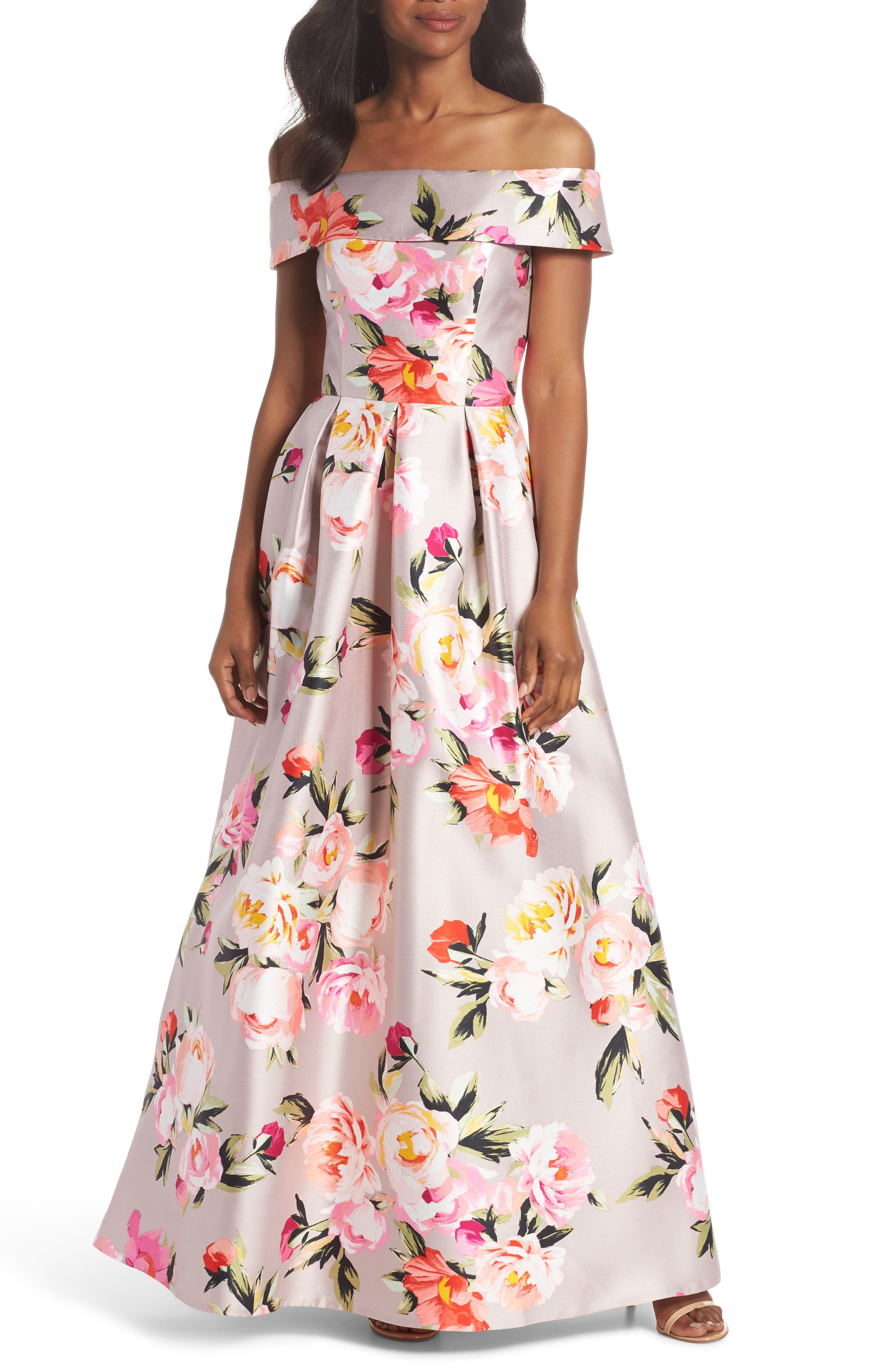 Floral Off the Shoulder Mikado Gown,                             Main thumbnail 1, color,                             Blush