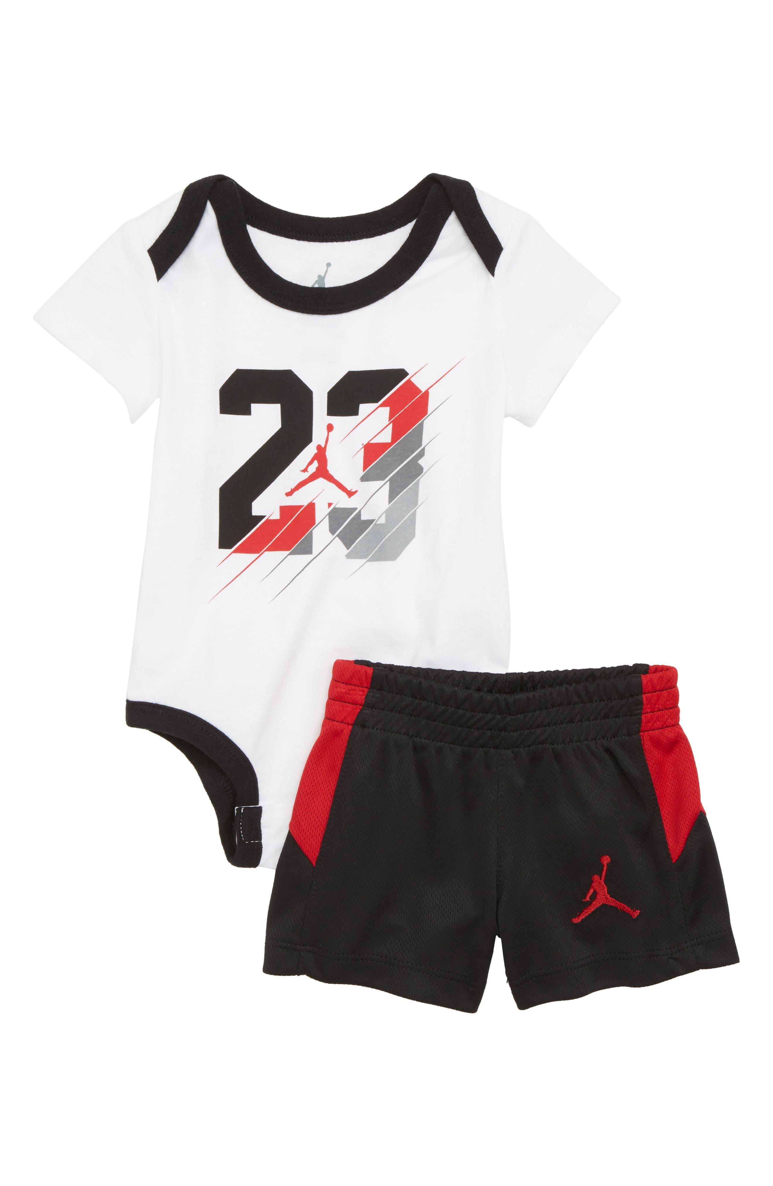 23 Slash Creeper Bodysuit & Mesh Shorts Set,                             Main thumbnail 1, color,                             Black