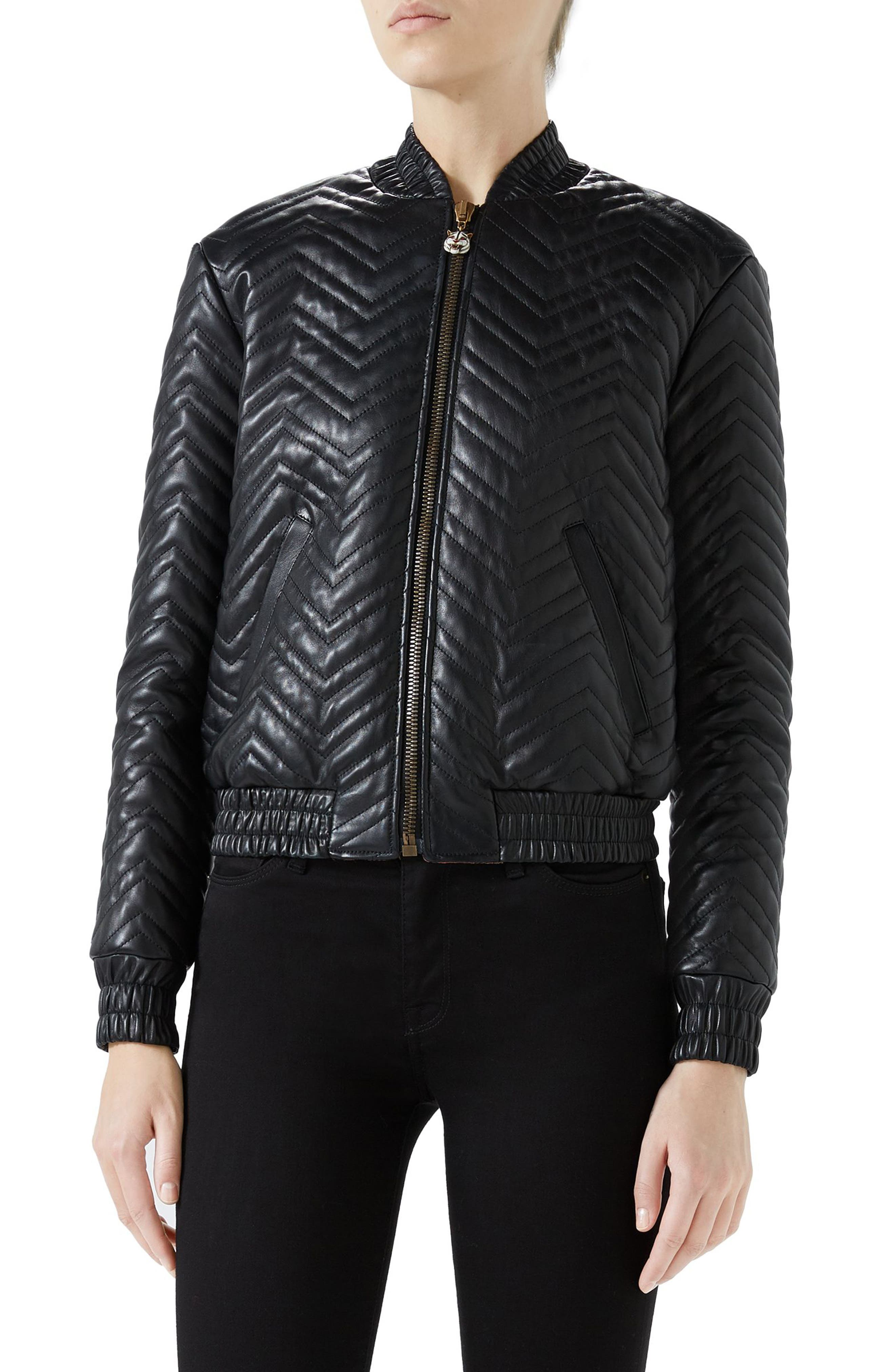 Quilted Leather Bomber Jacket,                         Main,                         color, Black