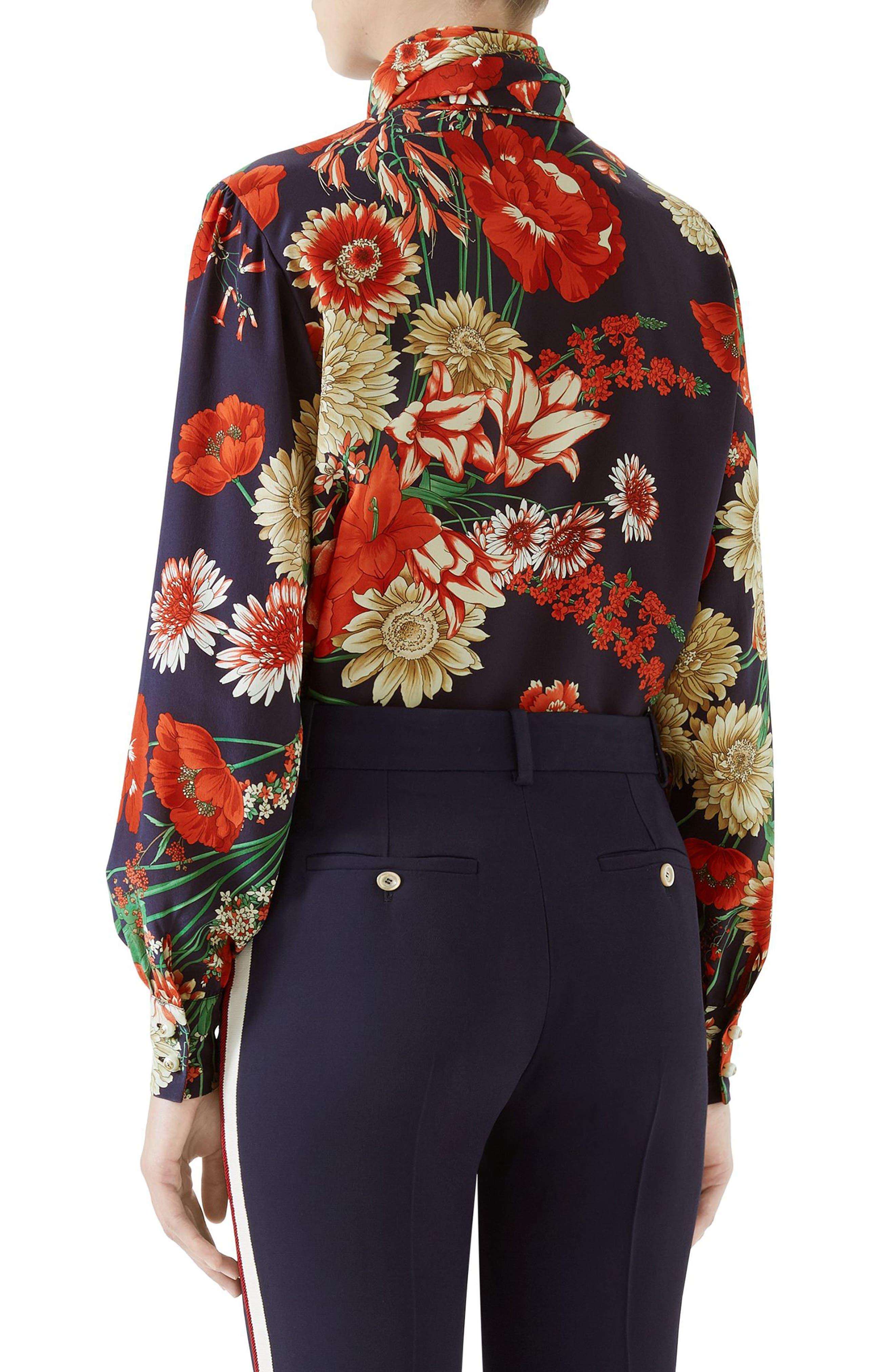 Spring Bouquet Print Tie Neck Silk Blouse,                             Alternate thumbnail 2, color,                             Blue/ Red Print