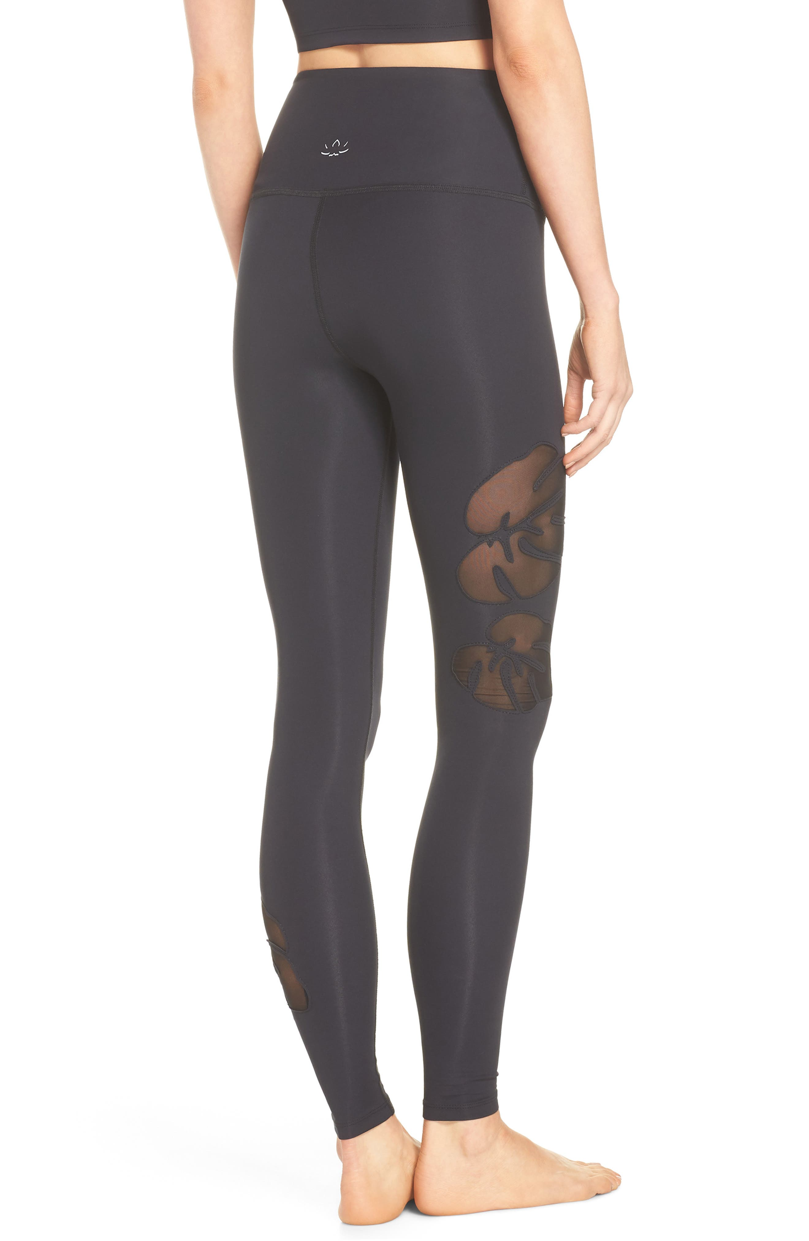 Take Leaf High Waist Leggings,                             Alternate thumbnail 2, color,                             Black