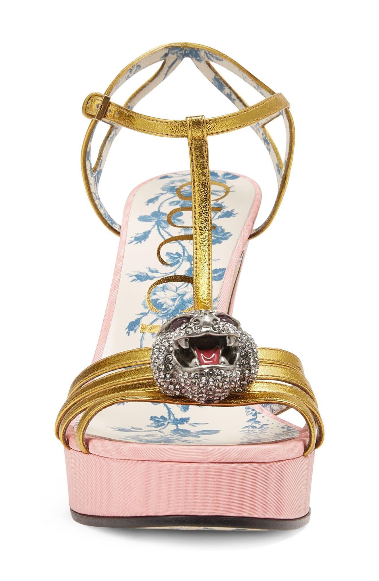 Alternate Image 3  - Gucci Elias Crystal Tiger T-Strap Sandal (Women)