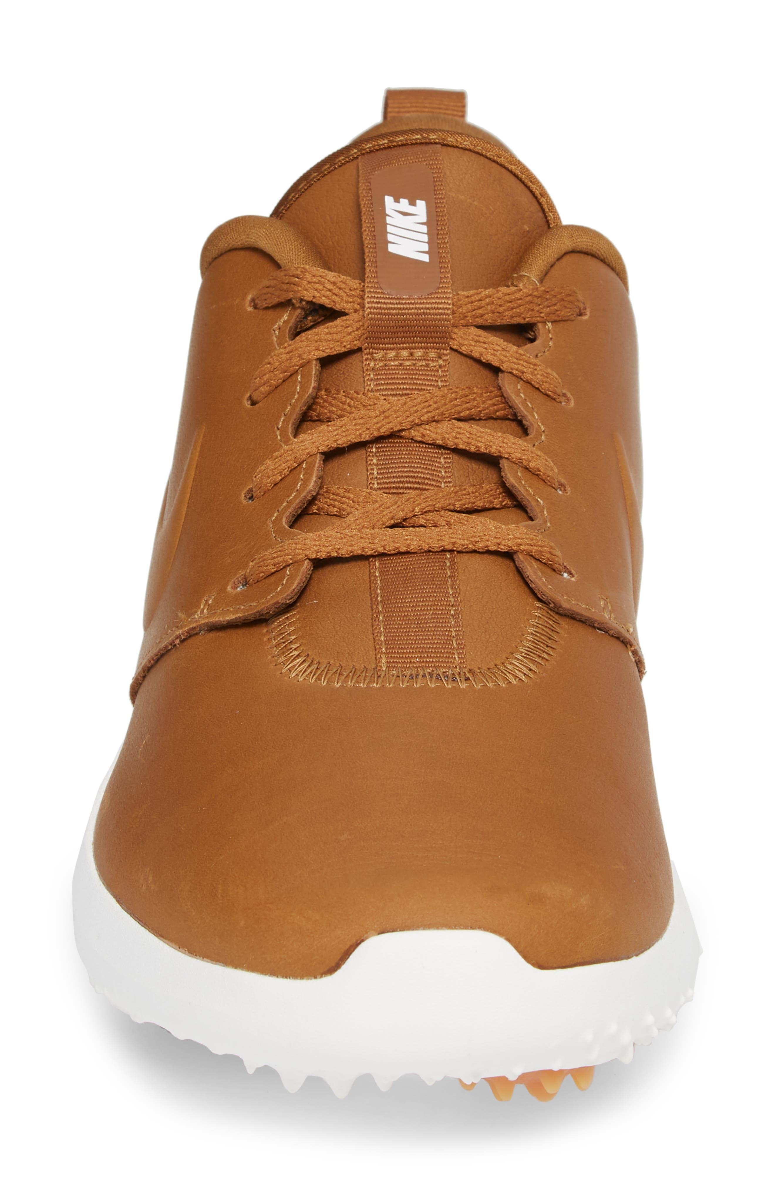 Roshe G Premium Golf Shoe,                             Alternate thumbnail 4, color,                             Ale Brown/ Ale Brown-White