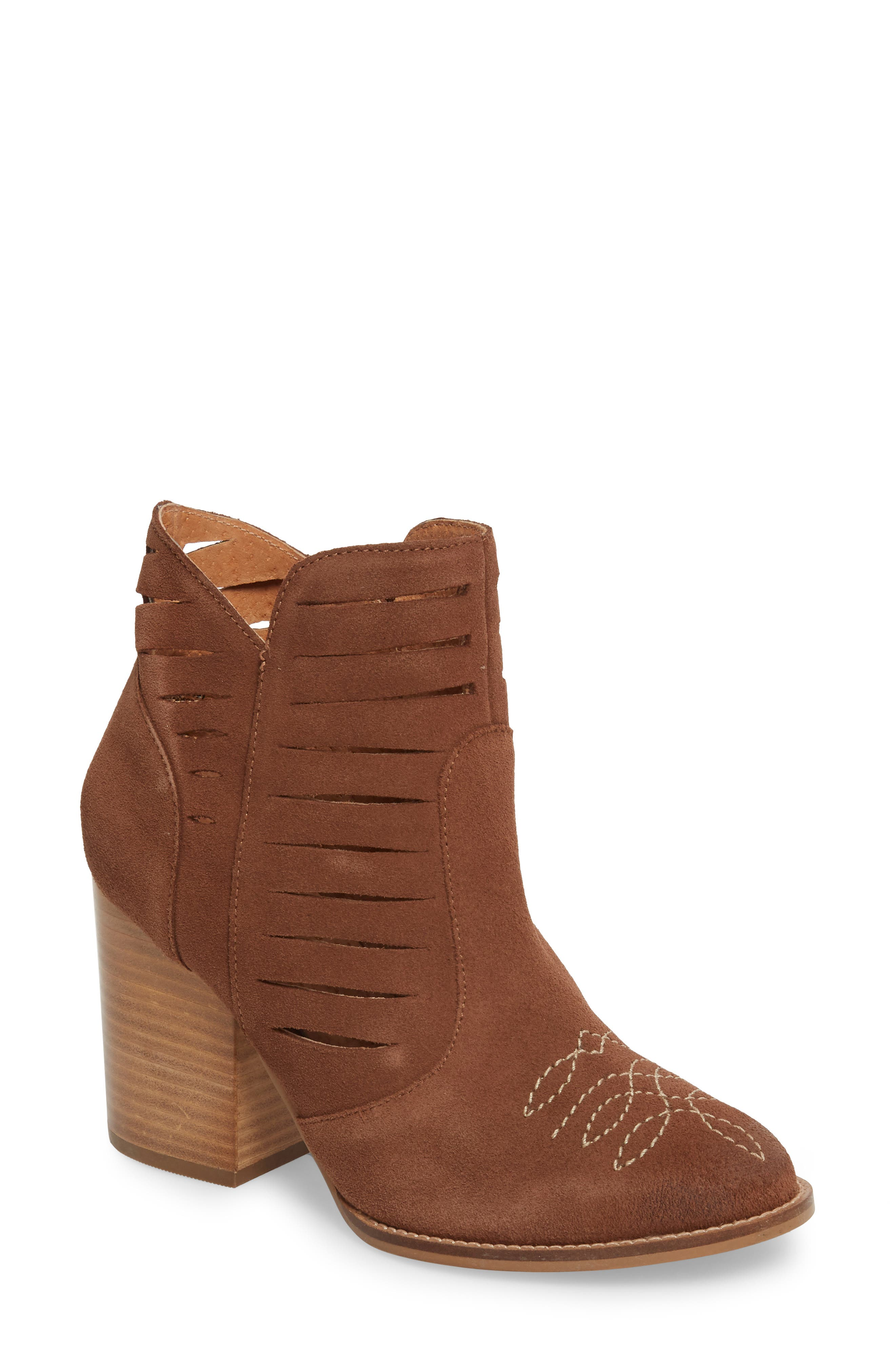 Adriana Western Bootie,                             Main thumbnail 1, color,                             Whiskey Suede