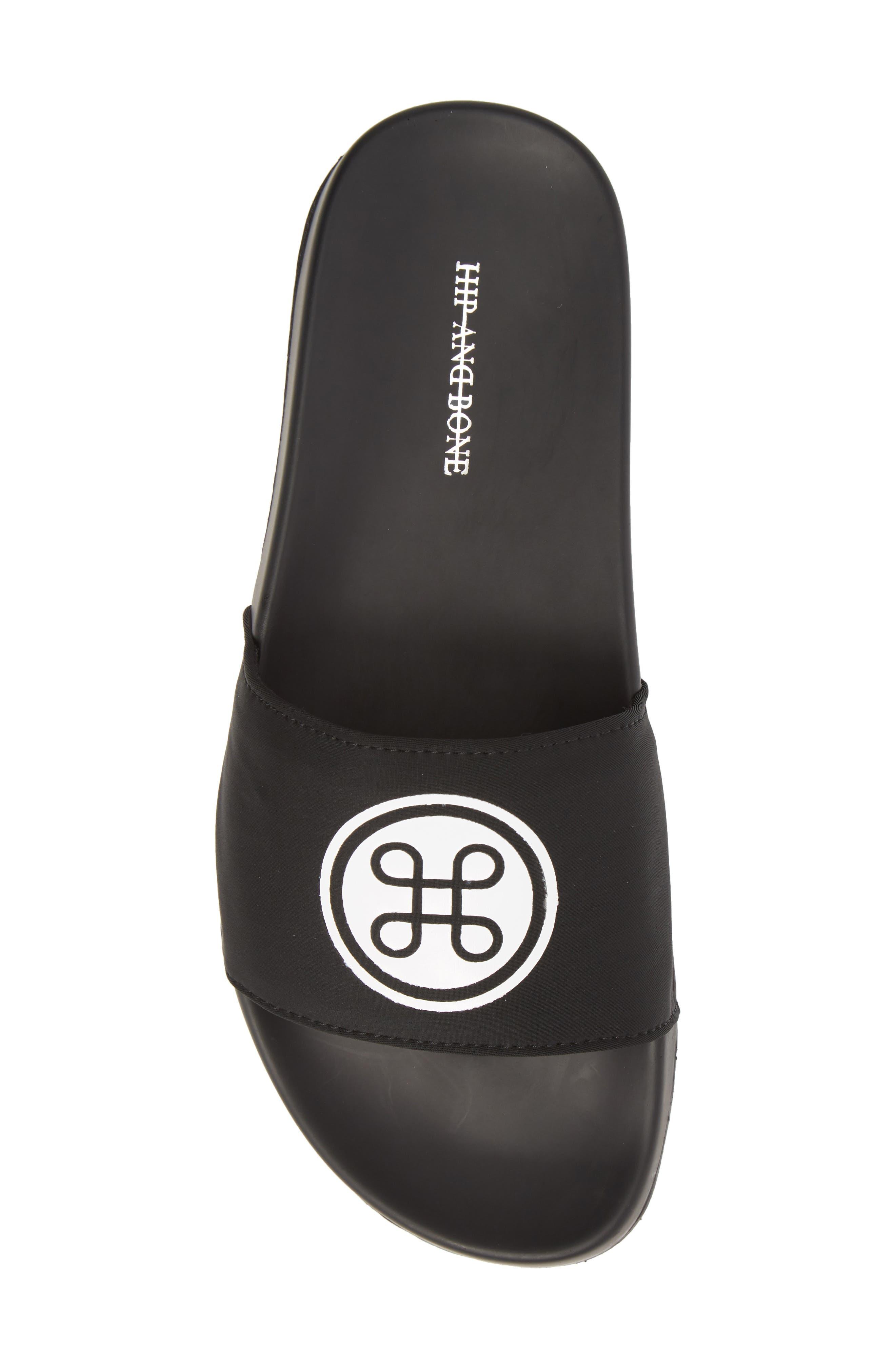 HB Logo Sport Slide,                             Alternate thumbnail 5, color,                             Black Neoprene Fabric