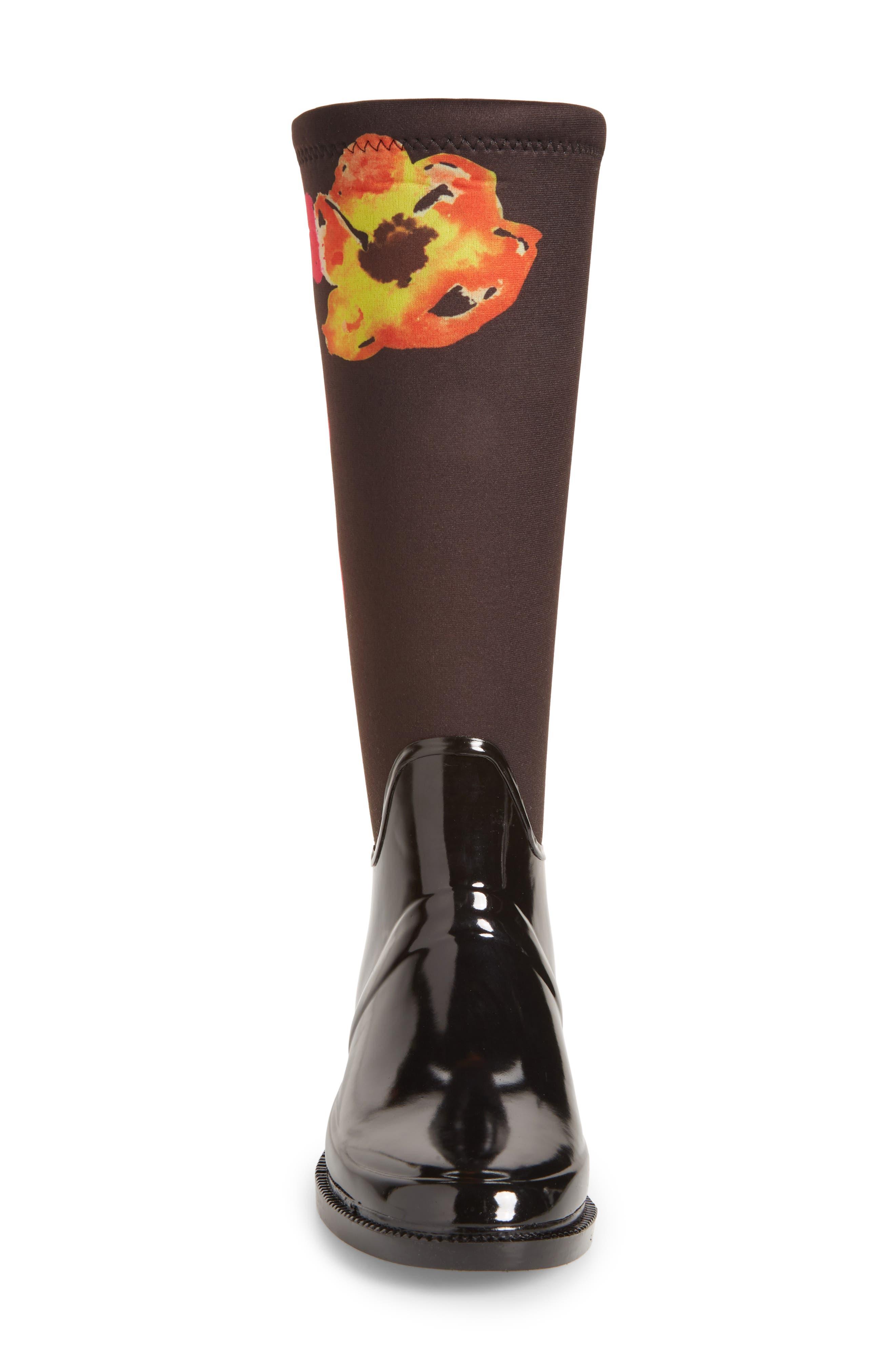 Talon Rain Boot,                             Alternate thumbnail 4, color,                             Black Floral Print