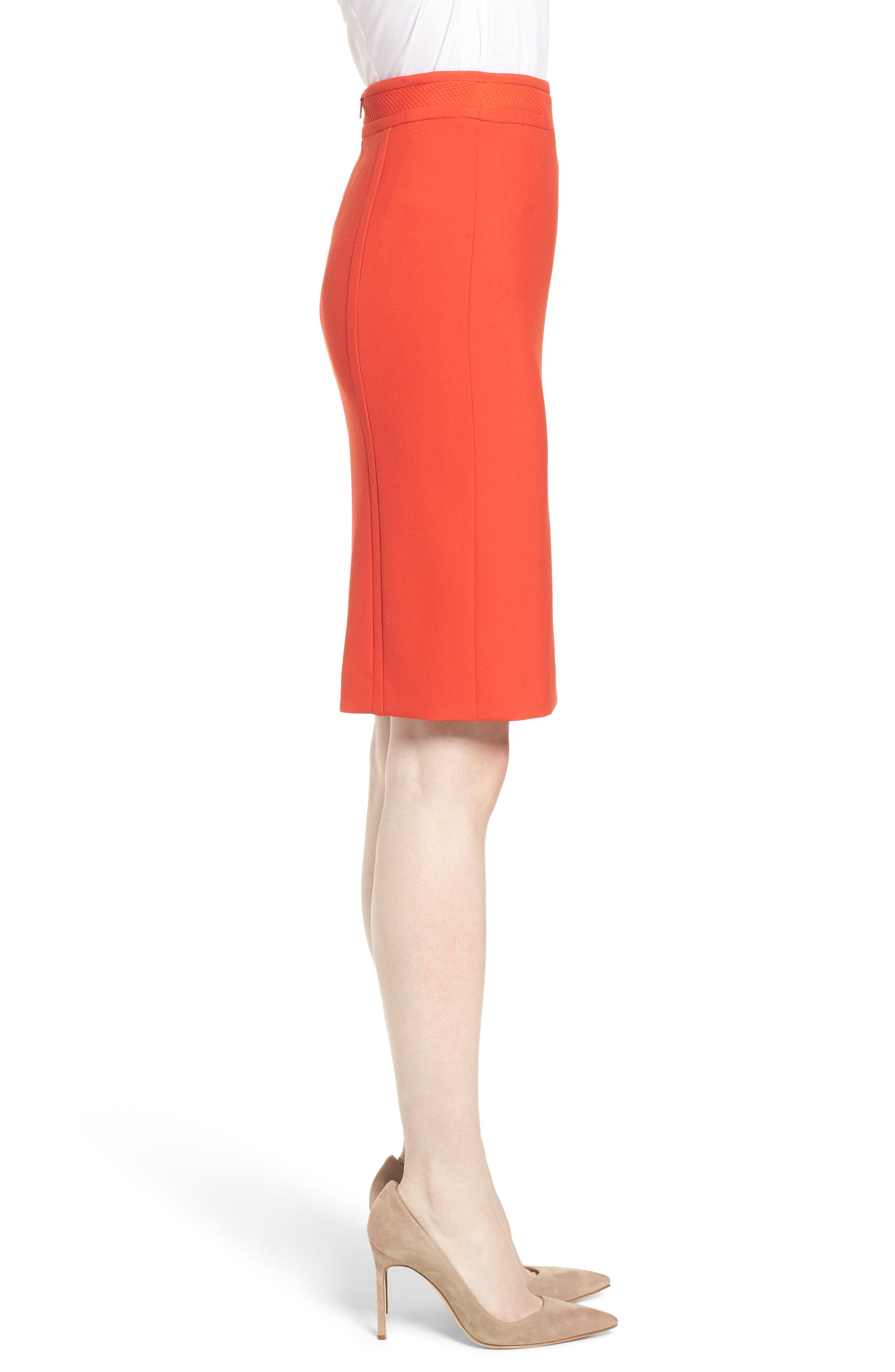 Vadama Ponte Pencil Skirt,                             Alternate thumbnail 3, color,                             Sunset Orange