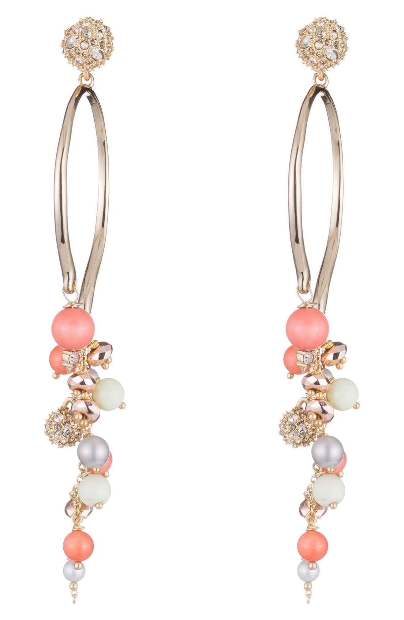 Alexis Bittar Crystal Bead Cluster Arc Drop Earrings