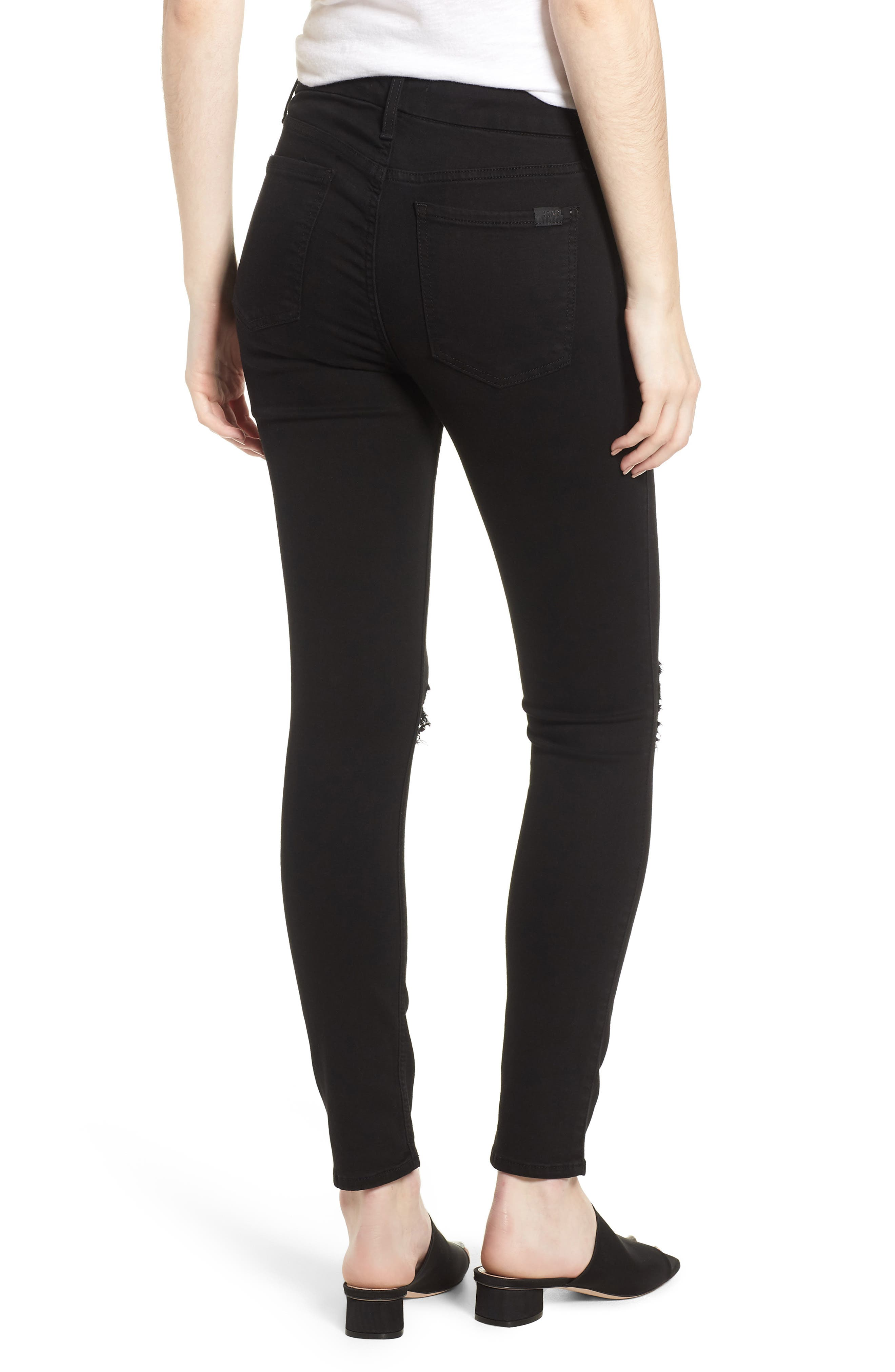 Ripped Ankle Skinny Jeans,                             Alternate thumbnail 2, color,                             Riche Touch Black Noir2