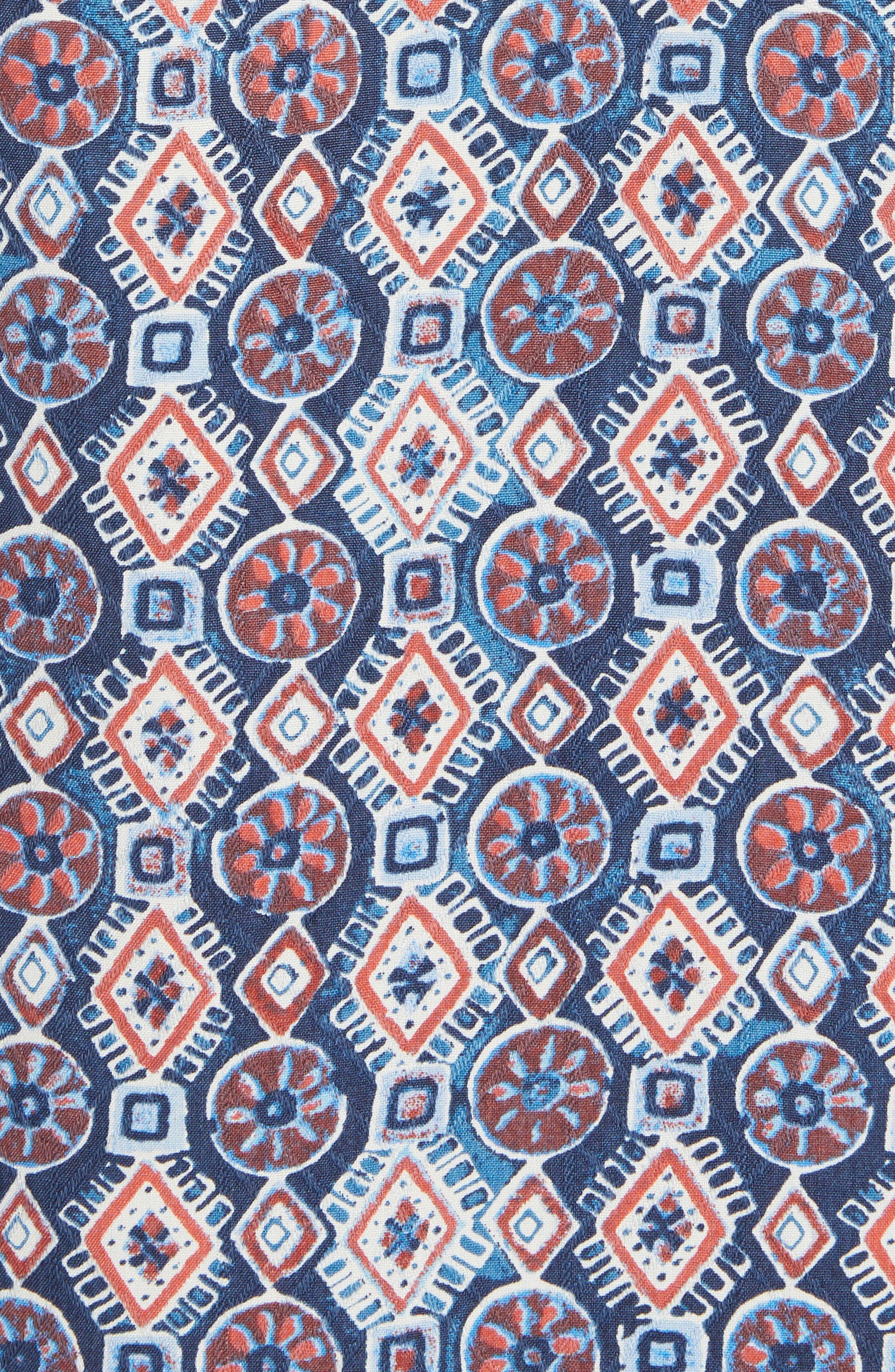 Tulum Tiles Silk Camp Shirt,                             Alternate thumbnail 5, color,                             Ocean Deep