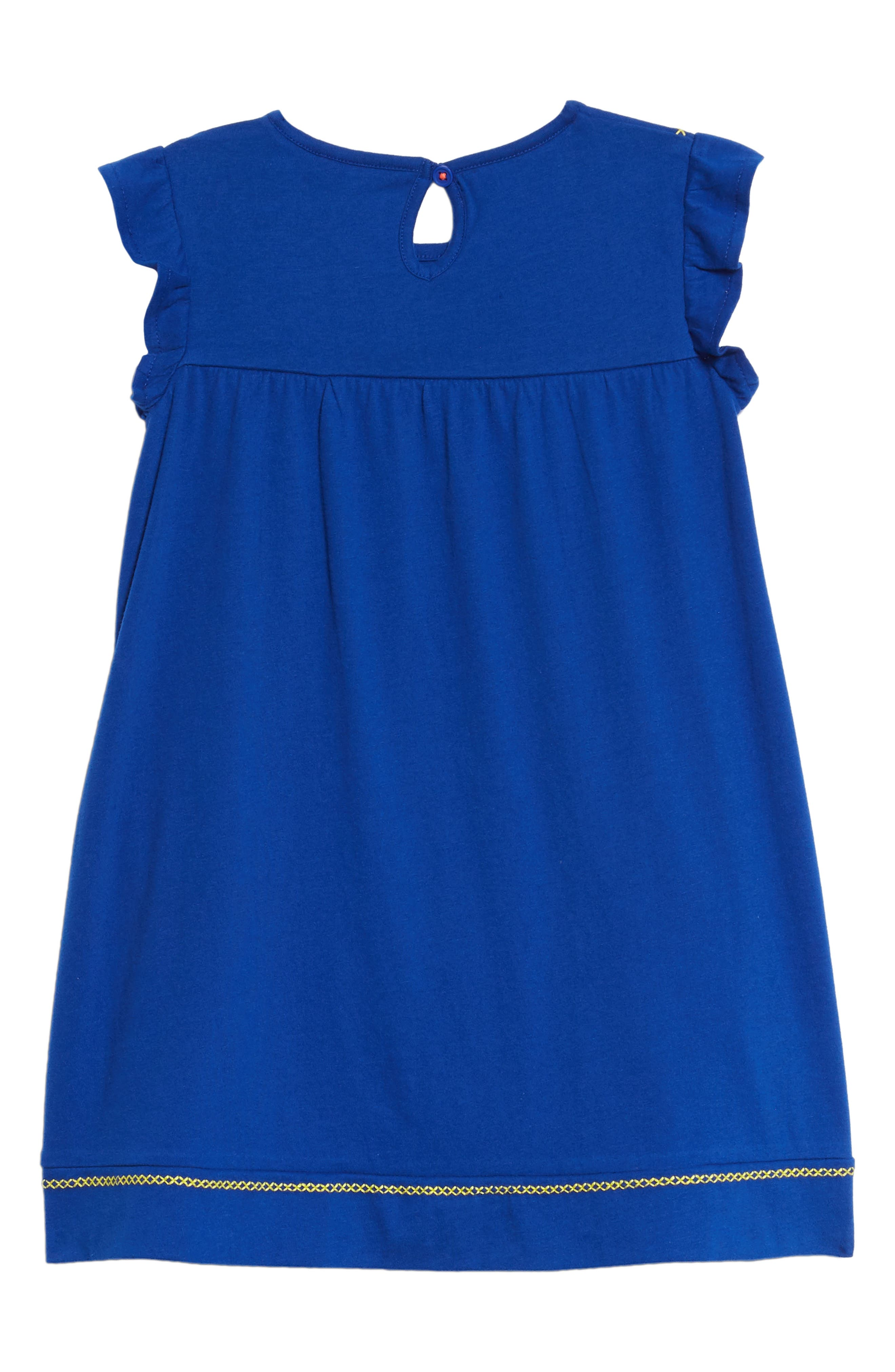 Embroidered Jersey Dress,                             Alternate thumbnail 3, color,                             Orion Blue