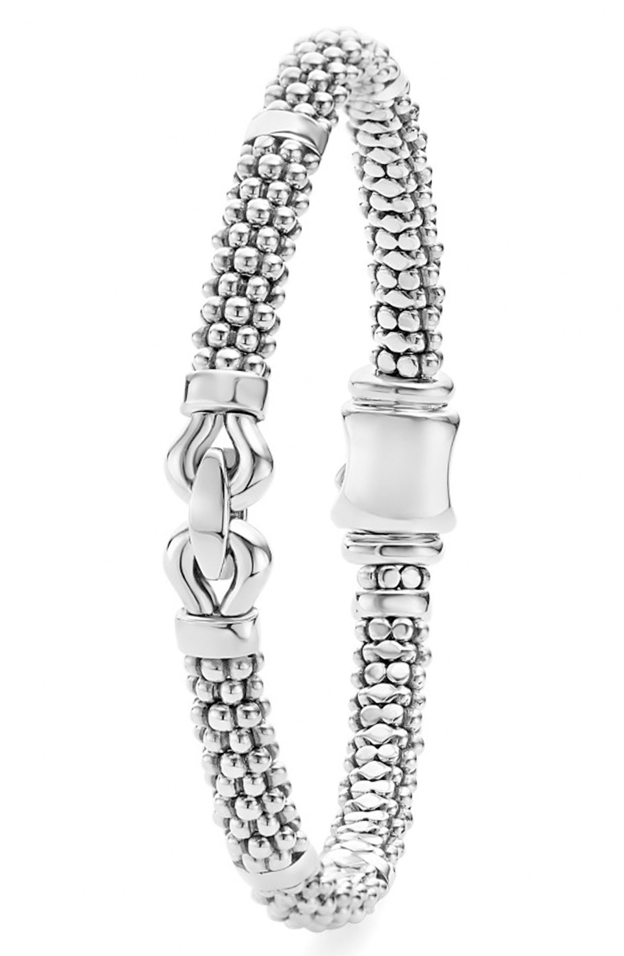 'Derby' Buckle Rope Bracelet,                             Alternate thumbnail 2, color,                             Sterling Silver